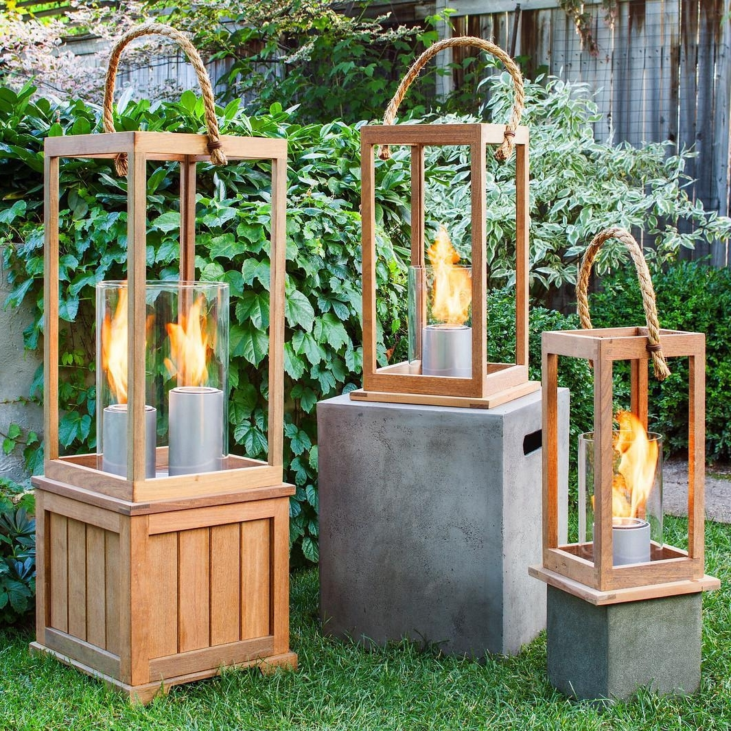 Current Terra Flame Sonoma 21 Inch Gel Lantern – Ipe Wood : Ultimate Patio In Outdoor Gel Lanterns (View 8 of 20)