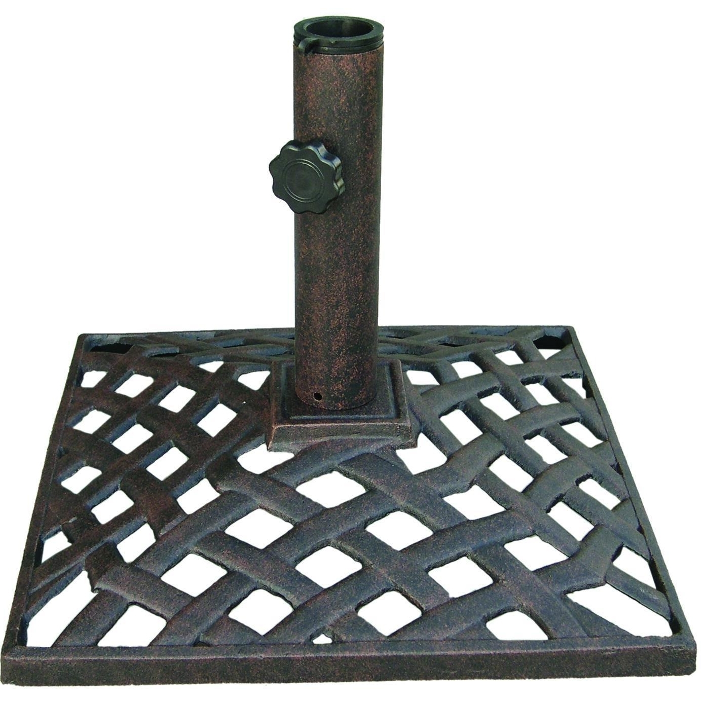 Darlee 35 Lb Basket Weave Cast Iron Patio Umbrella Base : Ultimate Patio Throughout Favorite Patio Umbrellas And Bases (Gallery 15 of 20)