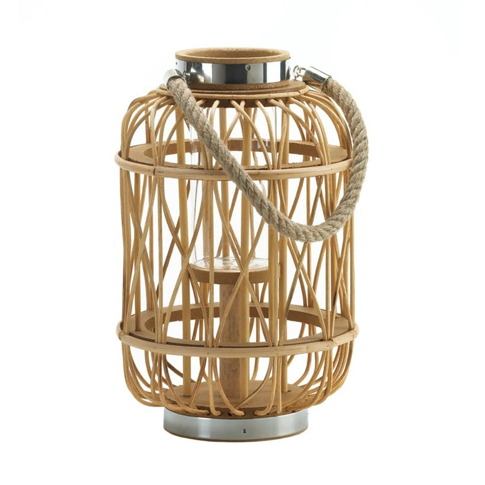 Decorative Candle Lanterns, Decorative Woven Rattan Rustic Wooden Within Most Popular Outdoor Rattan Lanterns (View 18 of 20)