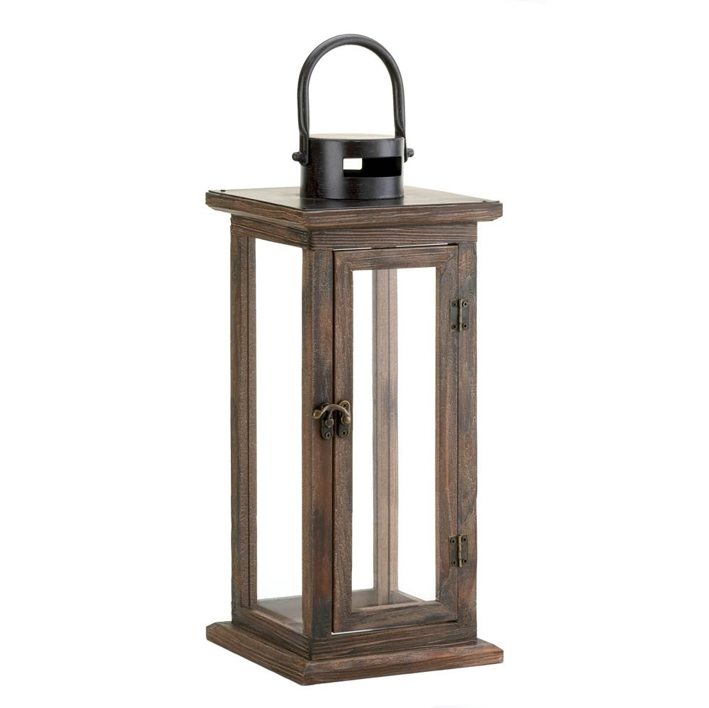 Decorative Candle Lanterns, Large Wood Rustic Outdoor Candle Lantern With Newest Outdoor Tea Light Lanterns (View 10 of 20)