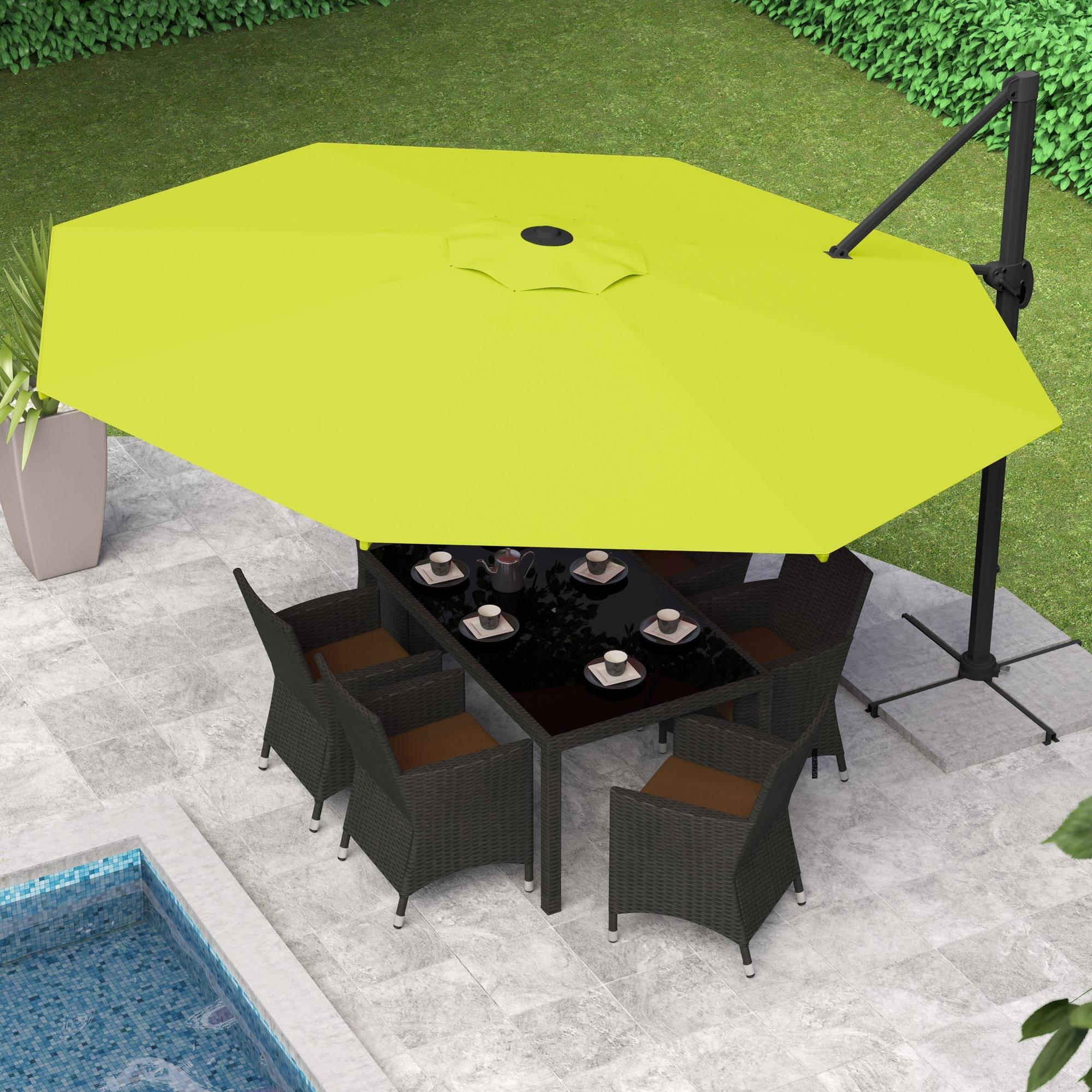 Deluxe Patio Umbrellas Throughout Current Corliving Deluxe Offset Patio Umbrella – Walmart (View 7 of 20)