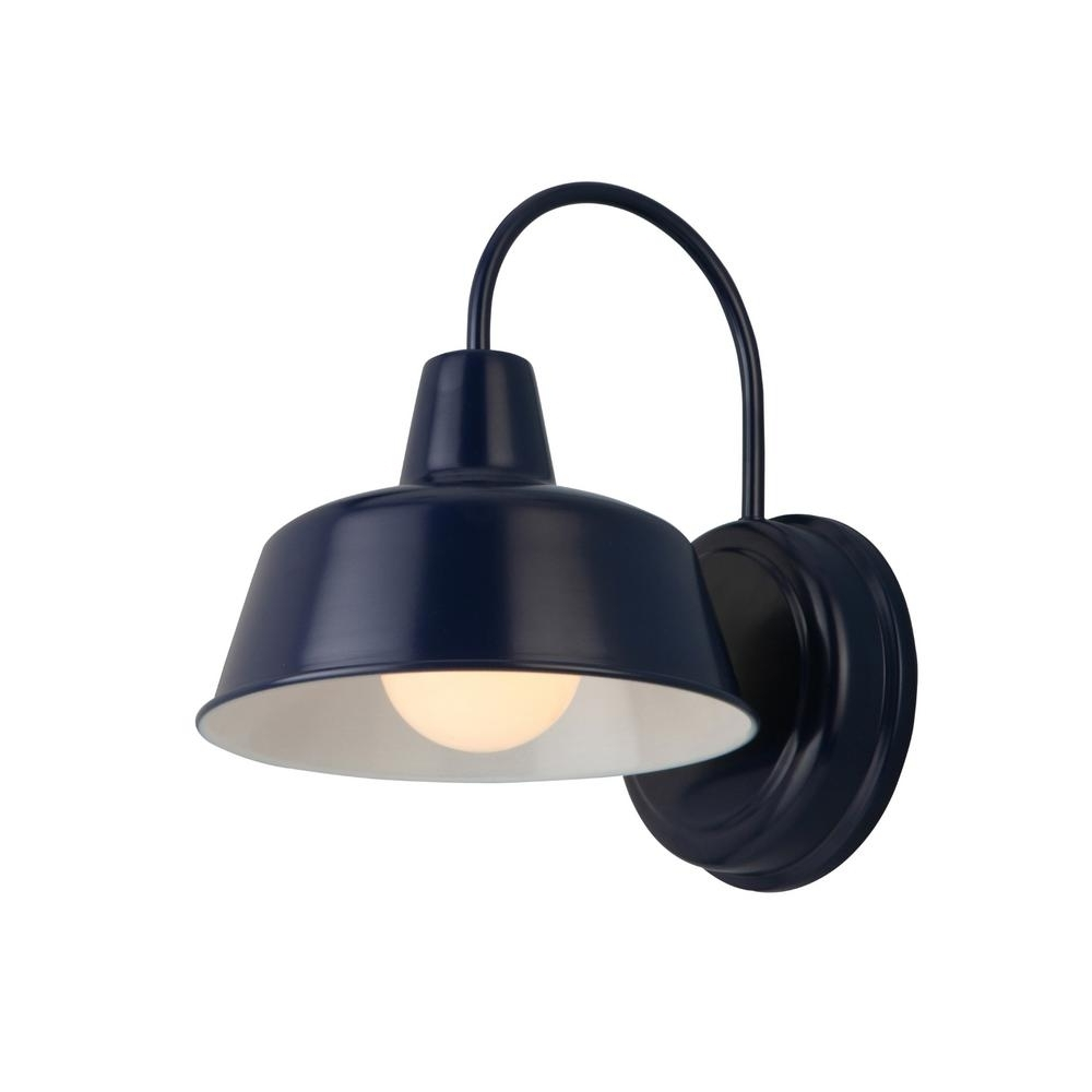 Design House Mason 1 Light Navy Blue Outdoor Wall Sconce 579334 With Most Popular Blue Outdoor Lanterns (View 4 of 20)