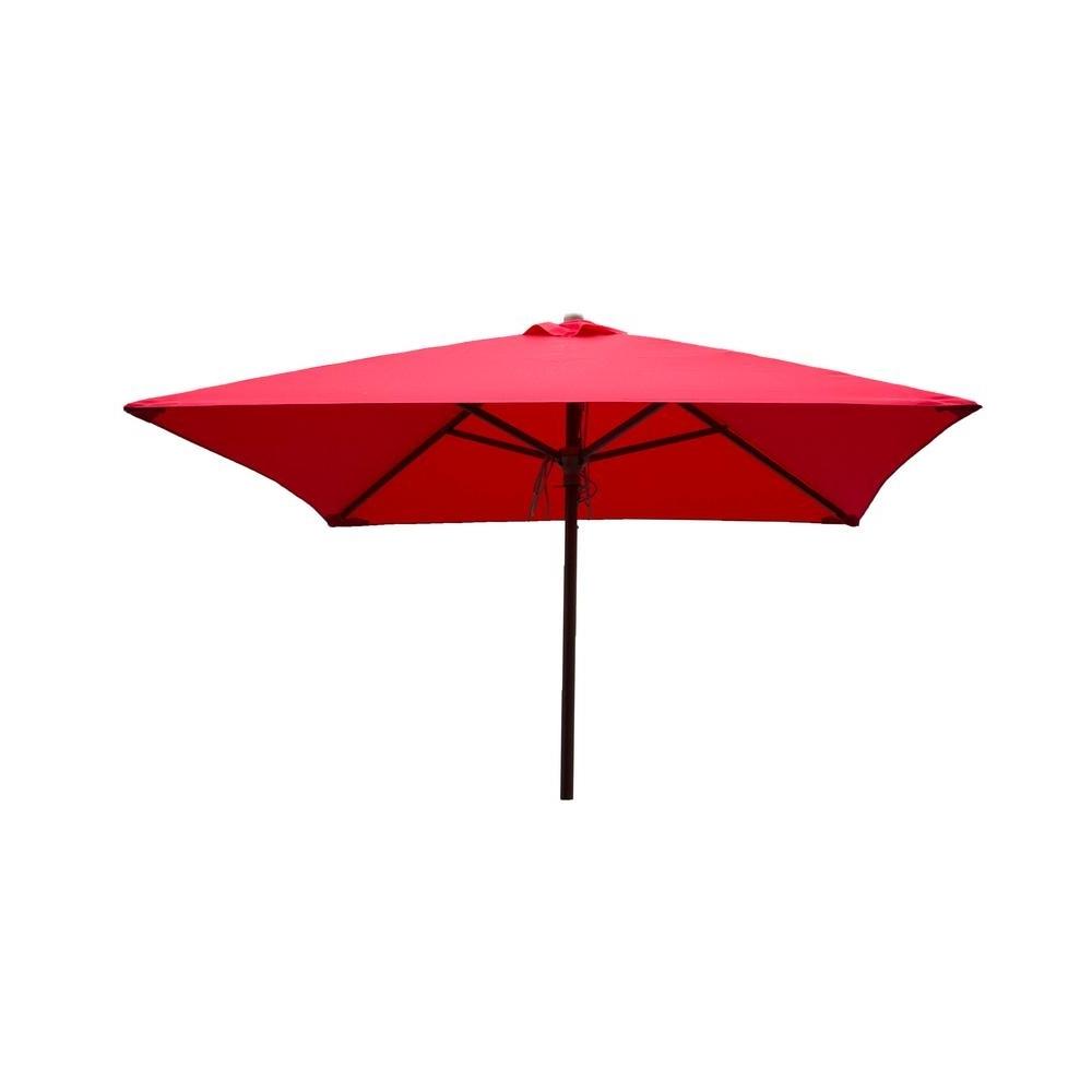 Destinationgear Classic Wood 6.5 Ft. Square Patio Umbrella In Red Regarding Famous Pink Patio Umbrellas (Gallery 7 of 20)