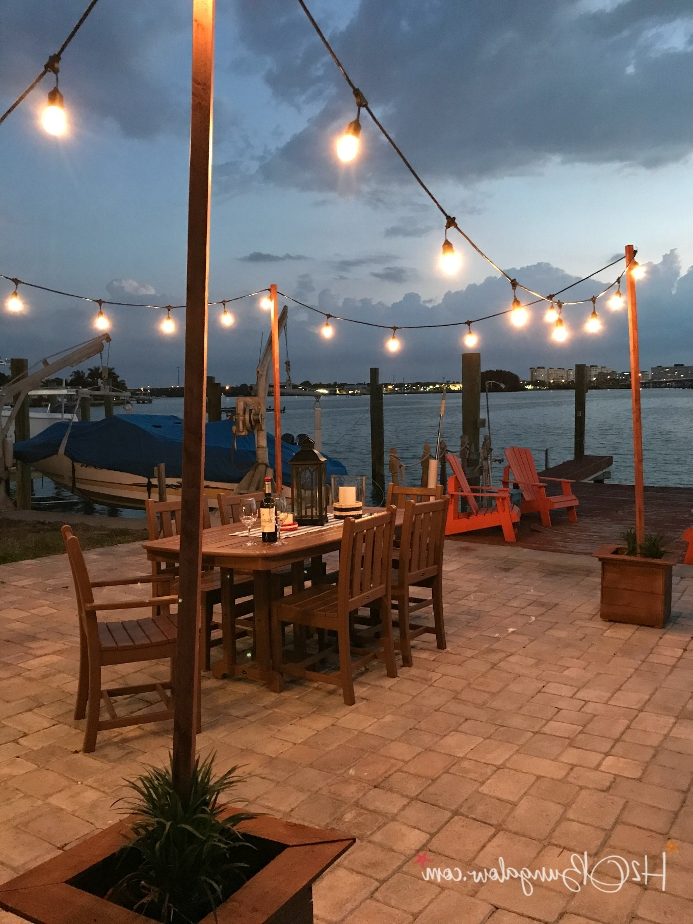Diy Outdoor String Lights On Poles – H20Bungalow Throughout Popular Outdoor String Lanterns (View 19 of 20)
