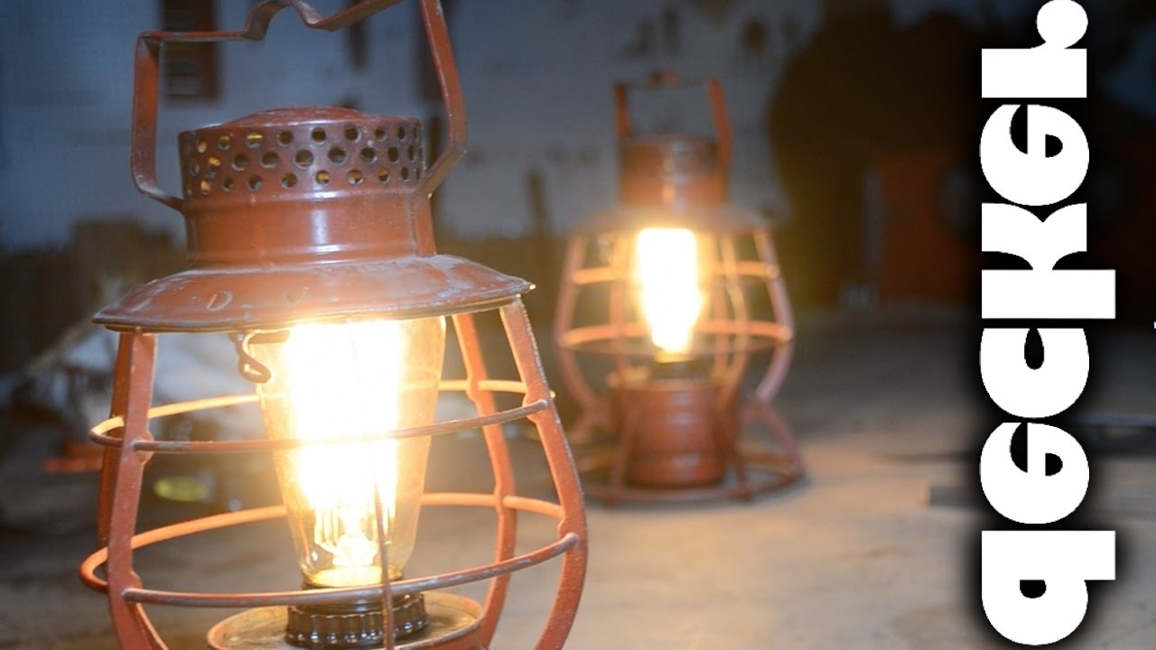 Diy: Turn Vintage Train Lanterns Into Lamps – Youtube For Widely Used Outdoor Railroad Lanterns (Gallery 13 of 20)