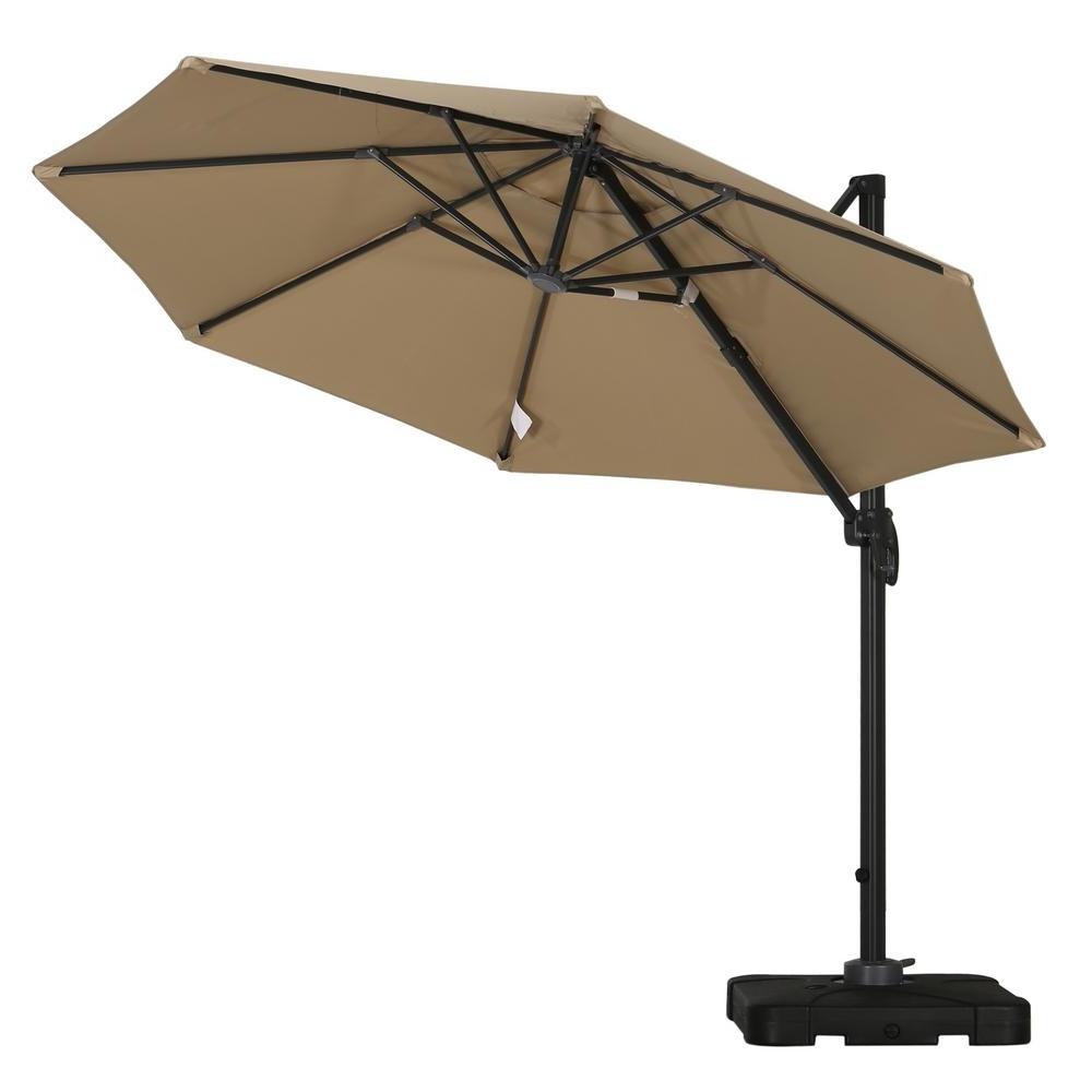 Drape Patio Umbrellas Regarding Recent Noble House Durango 9 1/2 Ft. Cantilever Patio Umbrella In Taupe (Gallery 13 of 20)