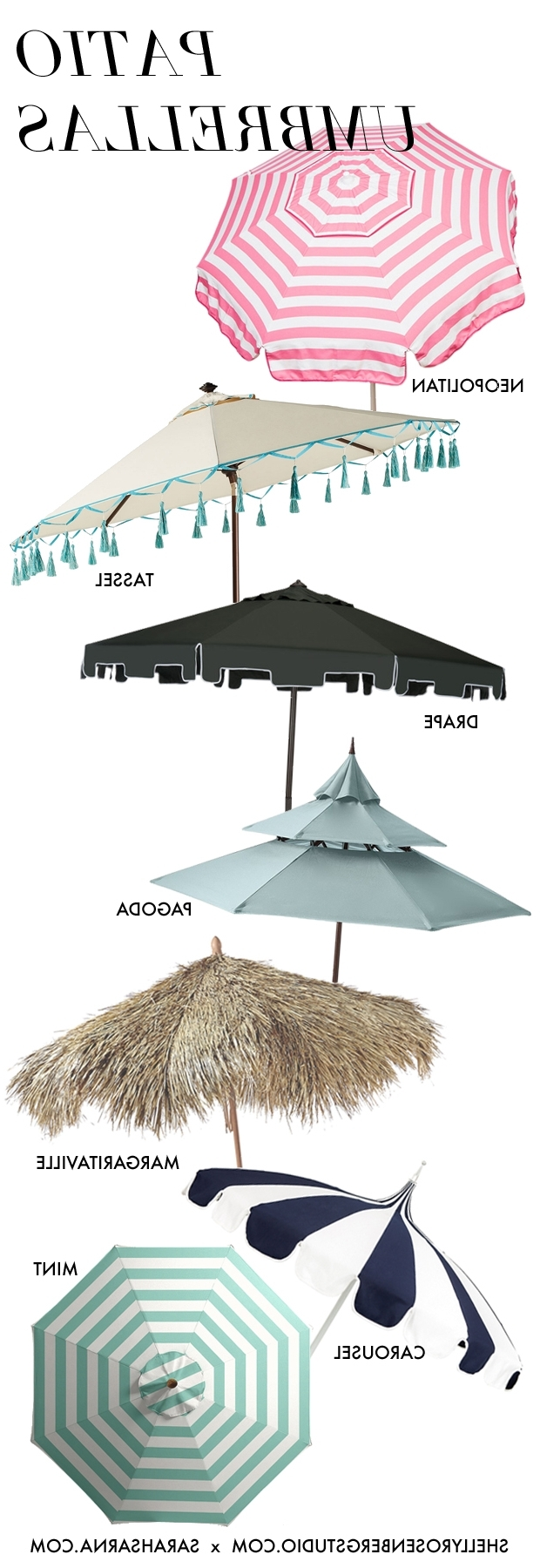 Drape Patio Umbrellas With Regard To Well Known Keep Your Cool: 7 Stylish Patio Umbrellas (View 7 of 20)