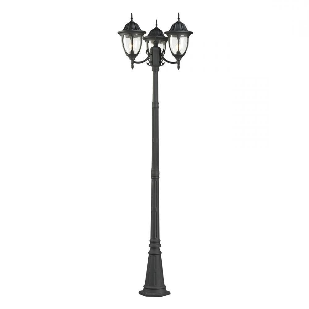 Elk Cornerstone Central Square 3 Light Outdoor Post Lamp In Charcoal In 2019 Outdoor Lanterns For Posts (View 1 of 20)