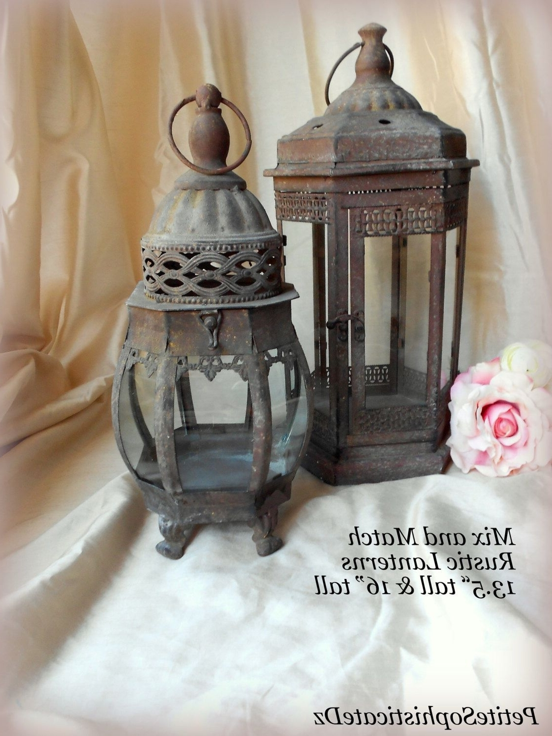 Etsy Outdoor Lanterns With Well Known Sale Mix & Match Rustic Lanterns,indoor/outdoor Rustic Centerpiece (View 18 of 20)