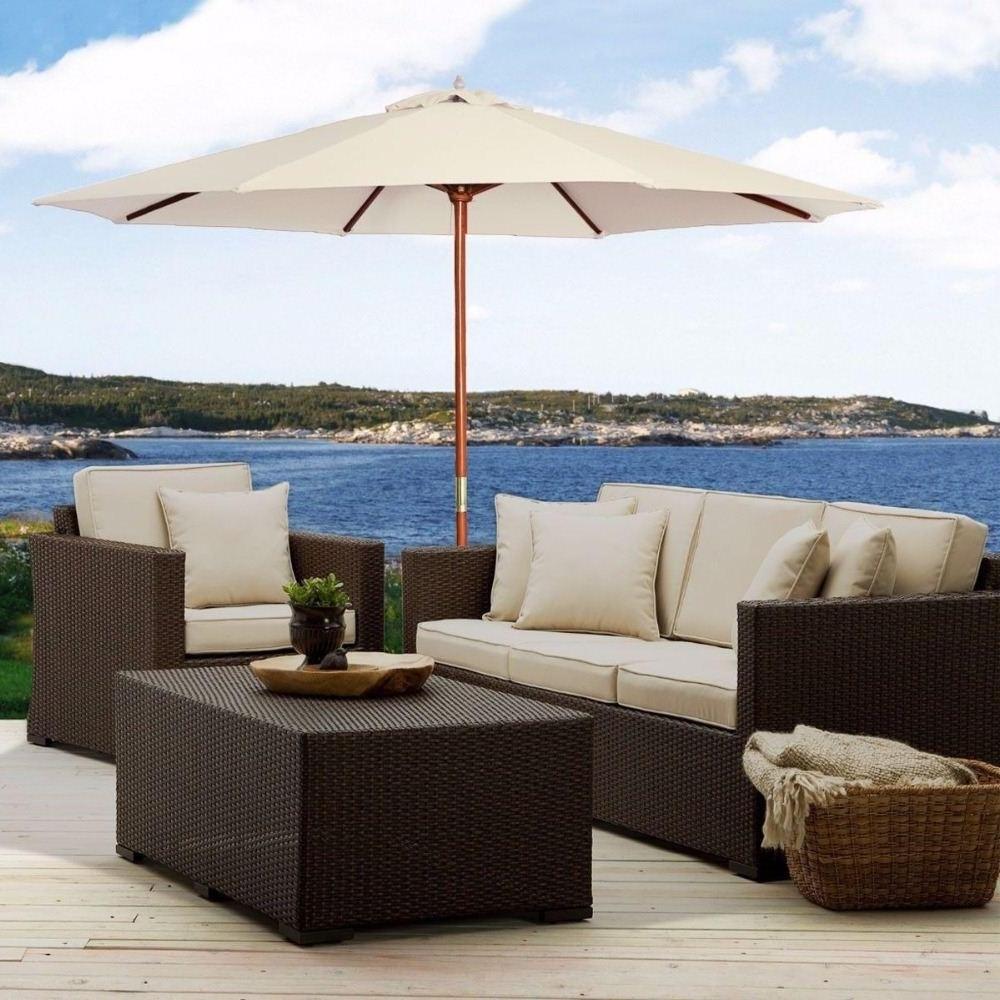 European Patio Umbrellas For 2019 10Ft Wooden Patio Umbrella Sun Shade Wood Pole Outdoor Beach Cafe (View 6 of 20)