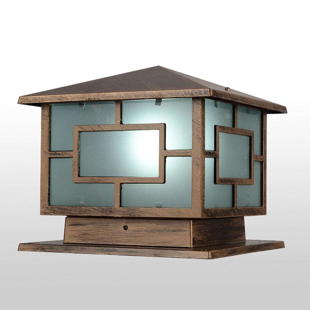 European Royal Wall Pillar Lamp Oriental Loft Shape Bronze Landscape Regarding Newest Outdoor Lanterns For Pillars (View 11 of 20)