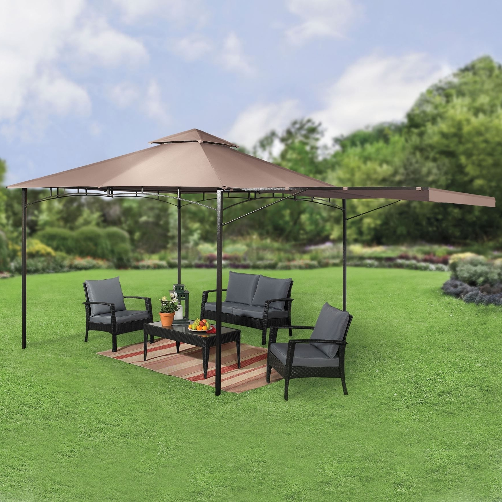 Extended Patio Umbrellas For 2018 Find Out Full Gallery Of 13 Plus Patio Umbrella Gazebo – Displaying (View 13 of 20)