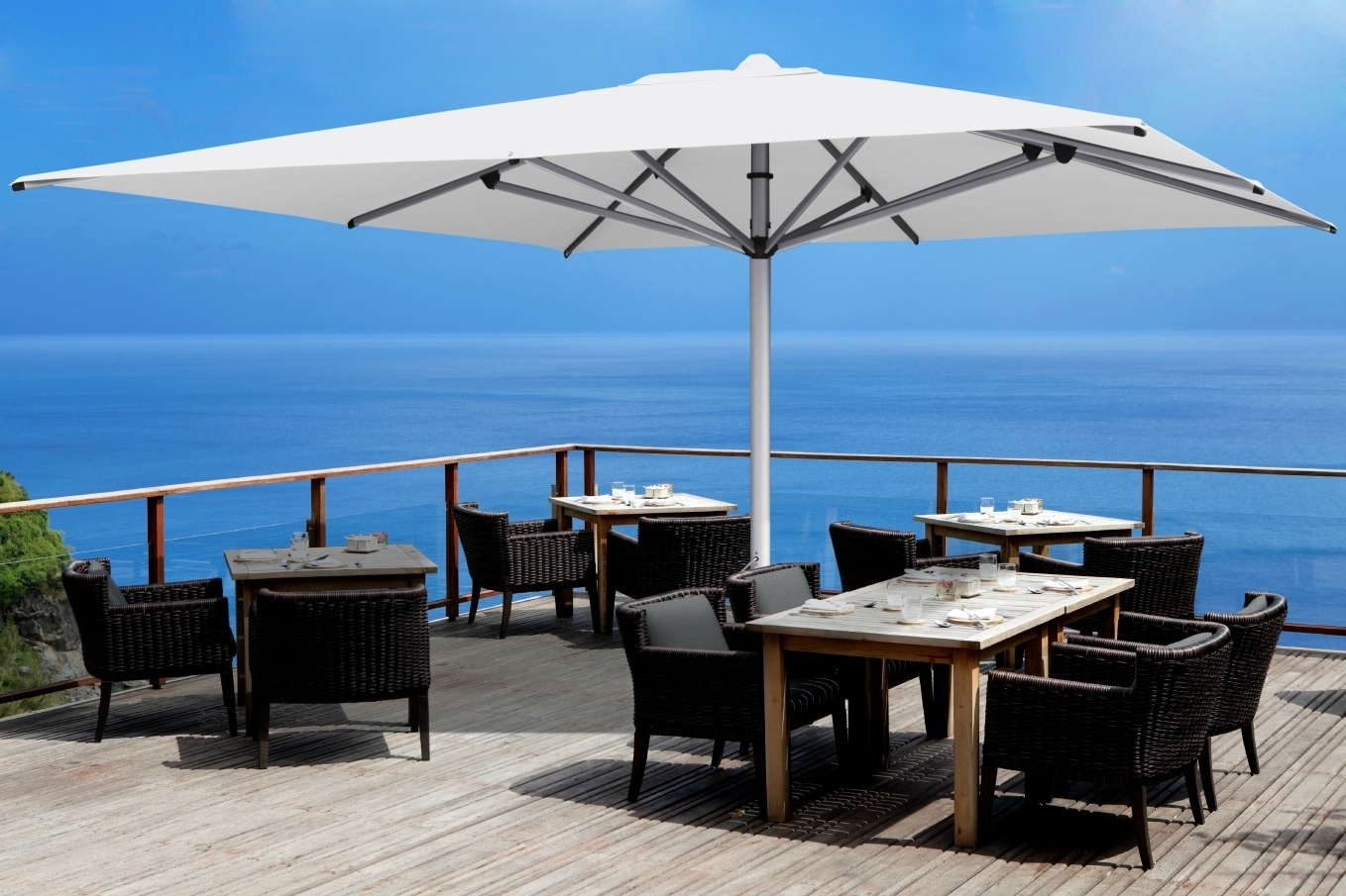 Extended Patio Umbrellas With Most Up To Date Shadowspec Luxury Umbrella Systems: 5 Reasons Why Commercial Outdoor (View 9 of 20)