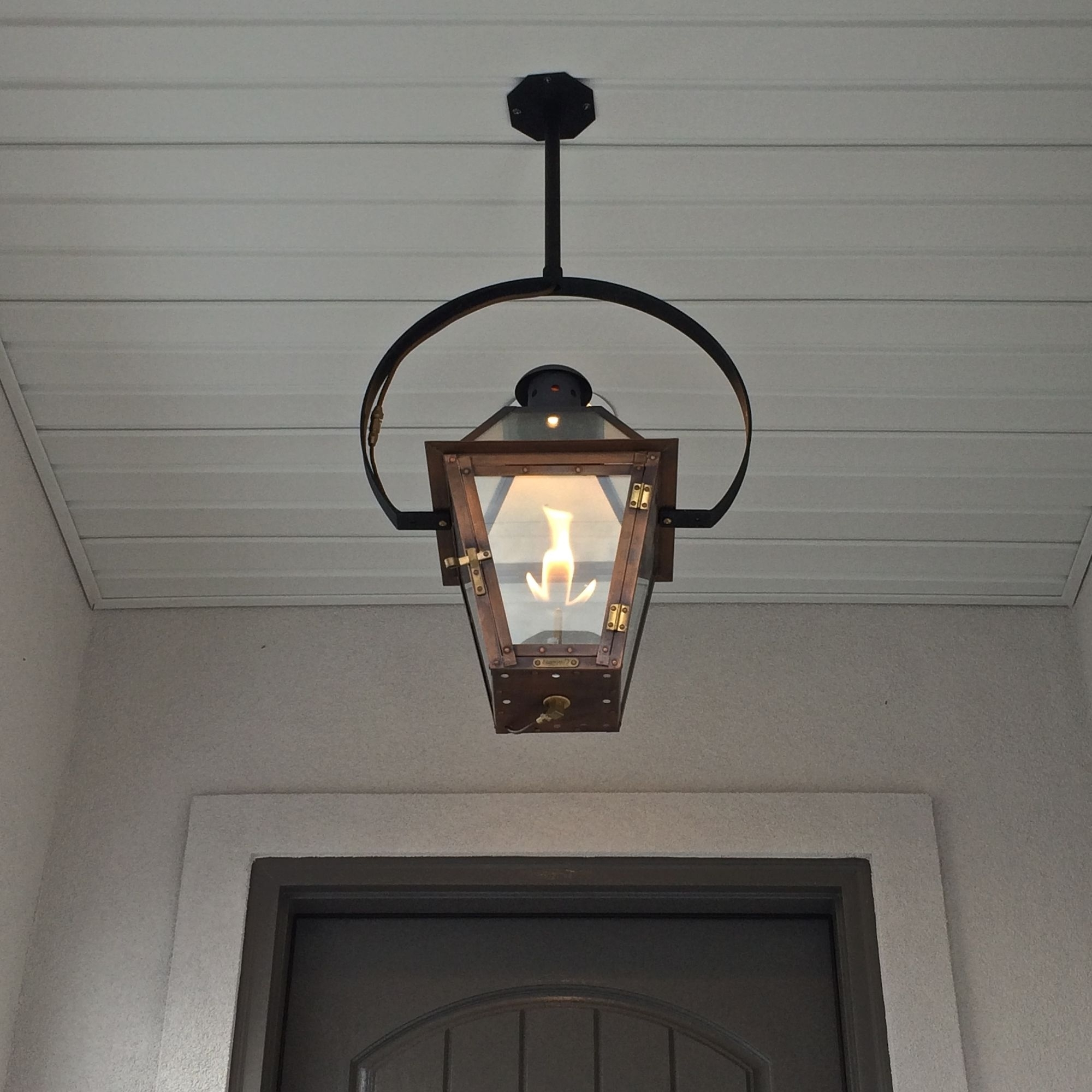 Exterior Entryway Large Hanging Gas Lantern Estess Contractors Within Most Up To Date Large Outdoor Electric Lanterns (Gallery 13 of 20)