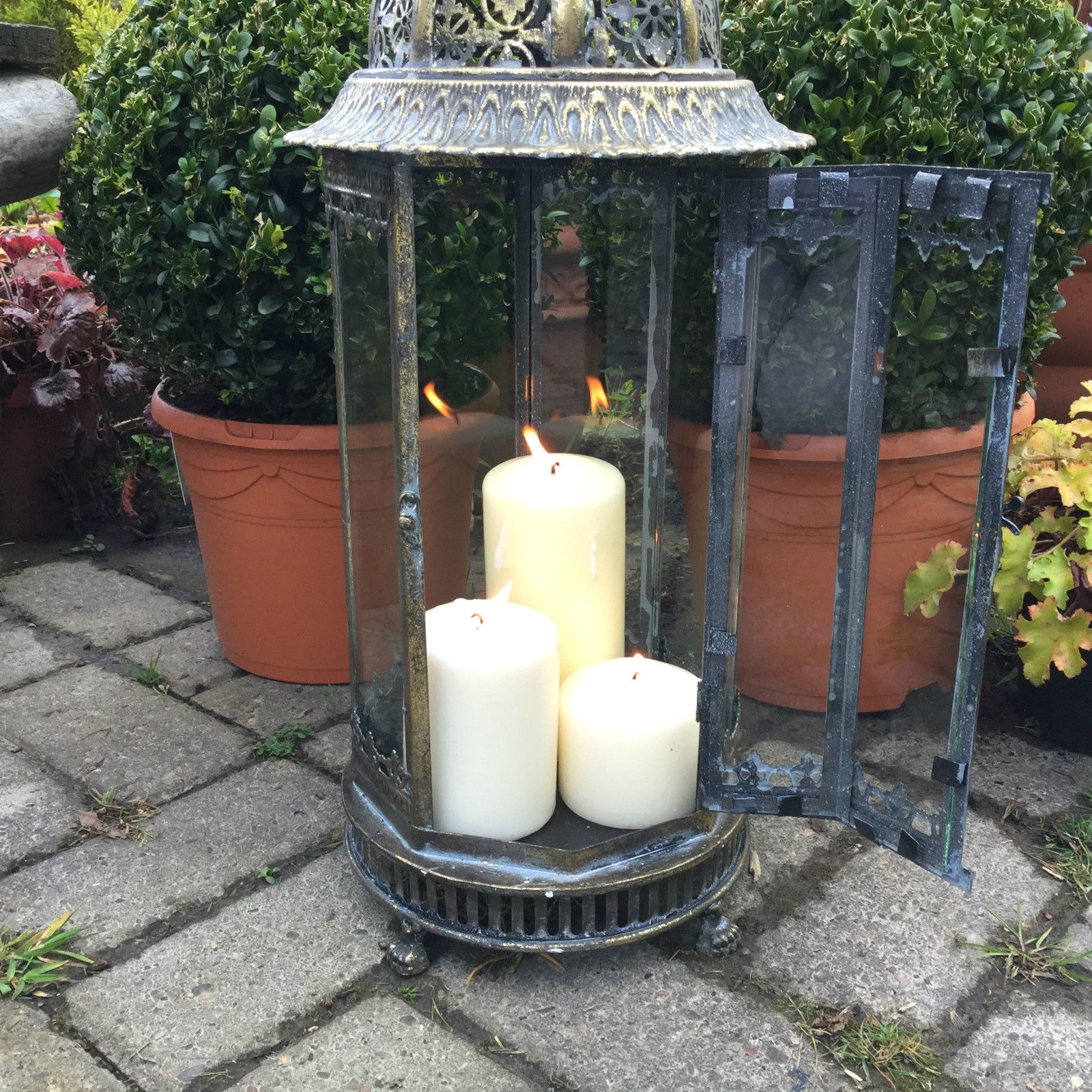 Extra Large Metal Garden Lantern Candle Holder Antique French Pertaining To Newest Outdoor Lanterns With Flameless Candles (Gallery 7 of 20)