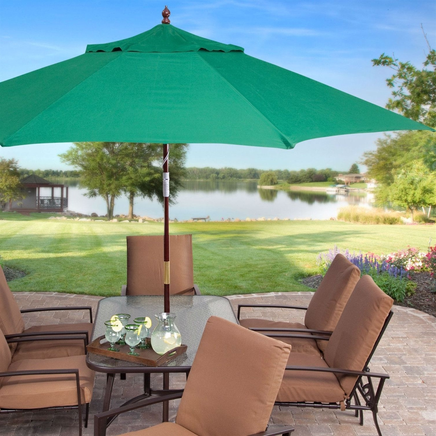 Famous 11 Ft Wood Patio Umbrella With Green Canopy – Commercial Grade Pertaining To Commercial Patio Umbrellas (View 10 of 20)