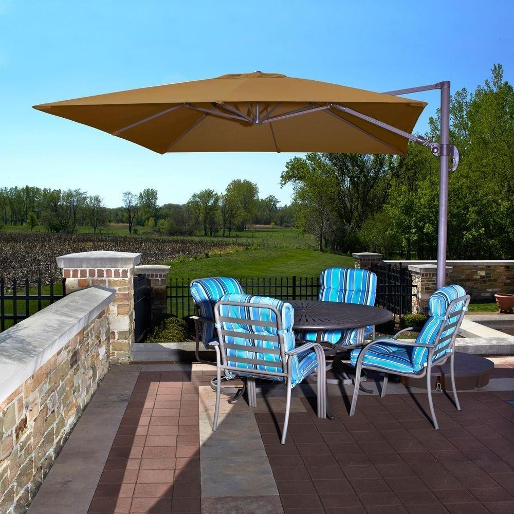 Famous Custom Sunbrella Patio Umbrellas For Brown – Cantilever Umbrellas – Patio Umbrellas – The Home Depot (View 7 of 20)