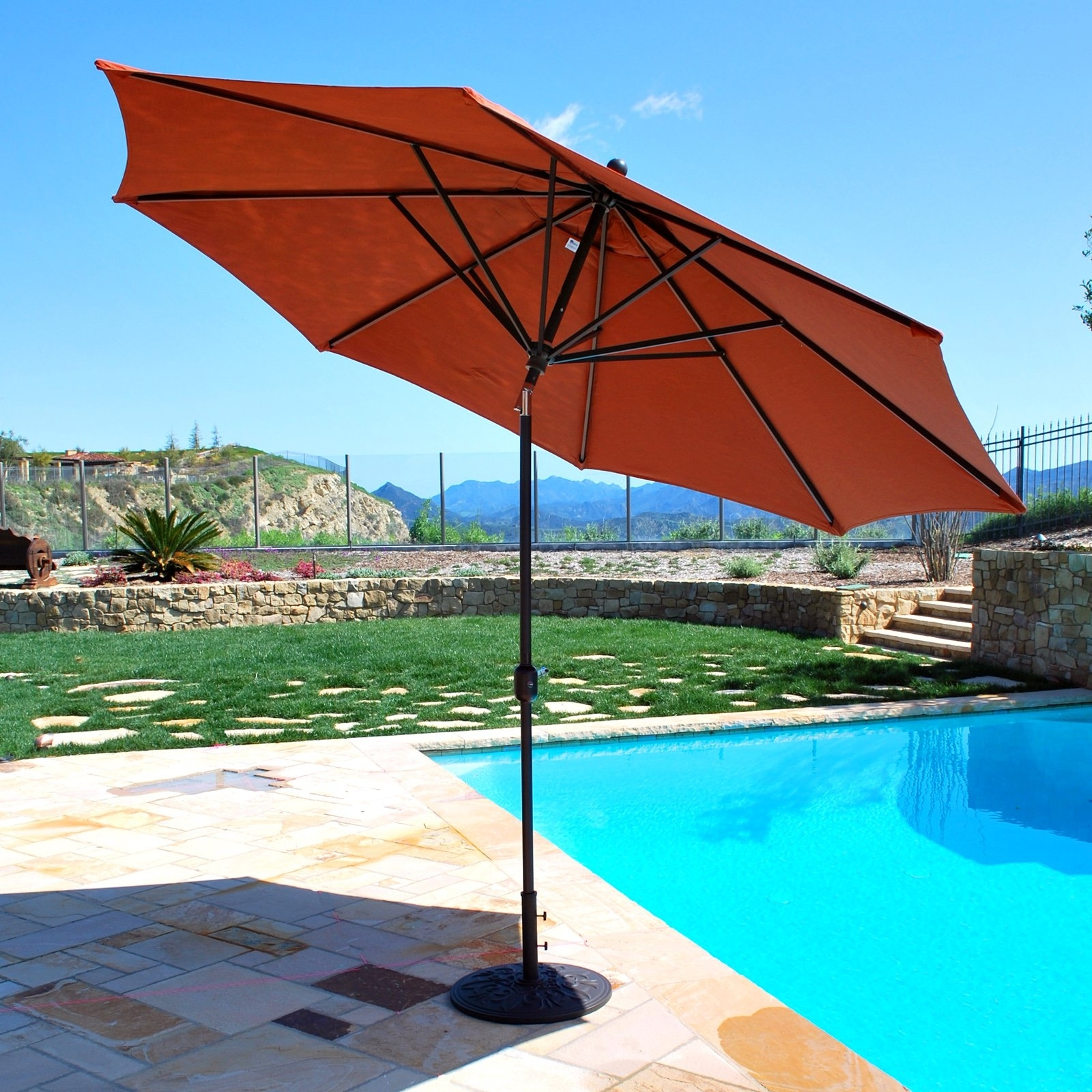 Famous Galtech Sunbrella 11 Ft. Maximum Shade Deluxe Aluminum Auto Tilt With 11 Ft (View 20 of 20)