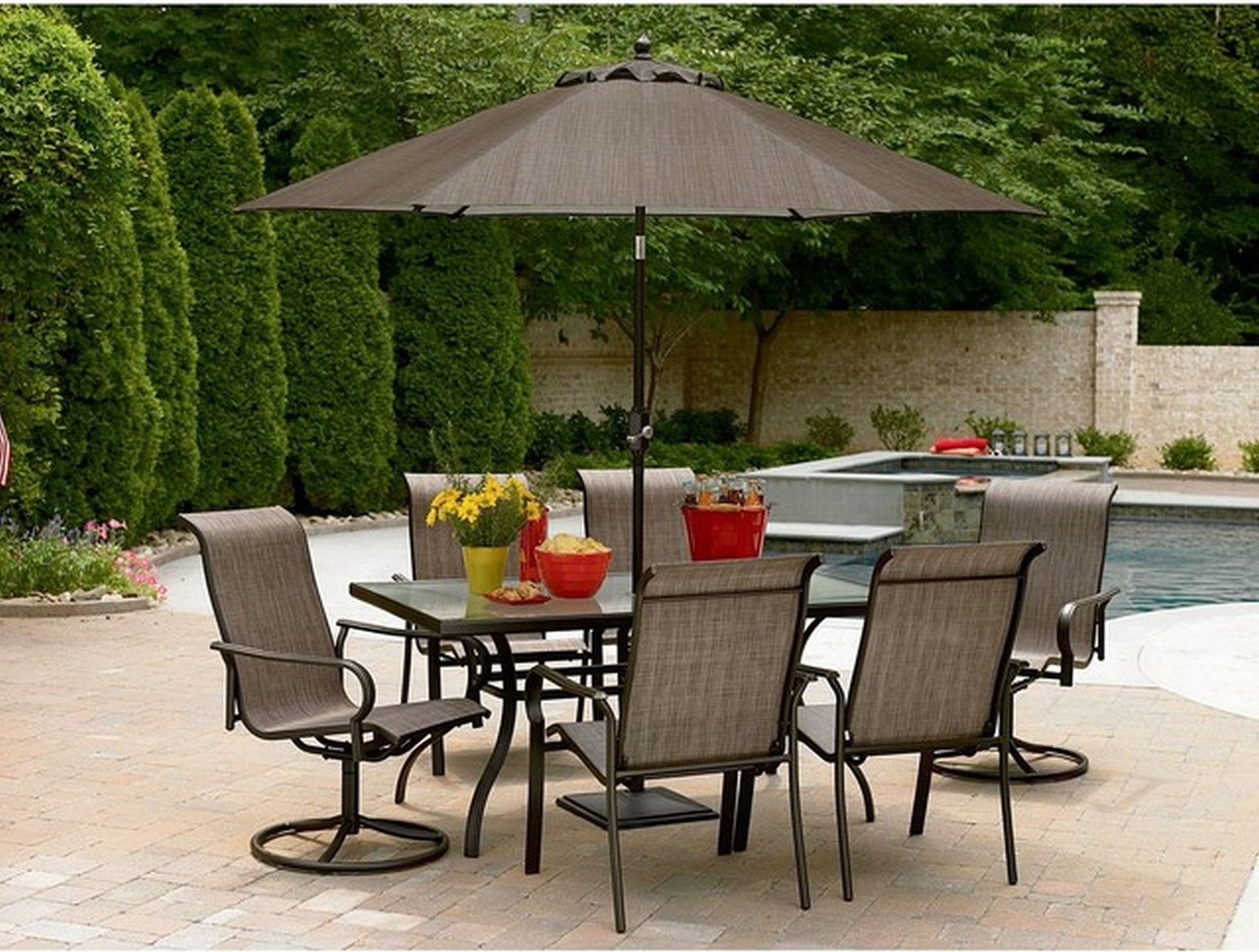 Famous Interior : Patio Table Chairs Umbrella Set New Furniture Sets With Throughout Patio Furniture Sets With Umbrellas (Gallery 1 of 20)