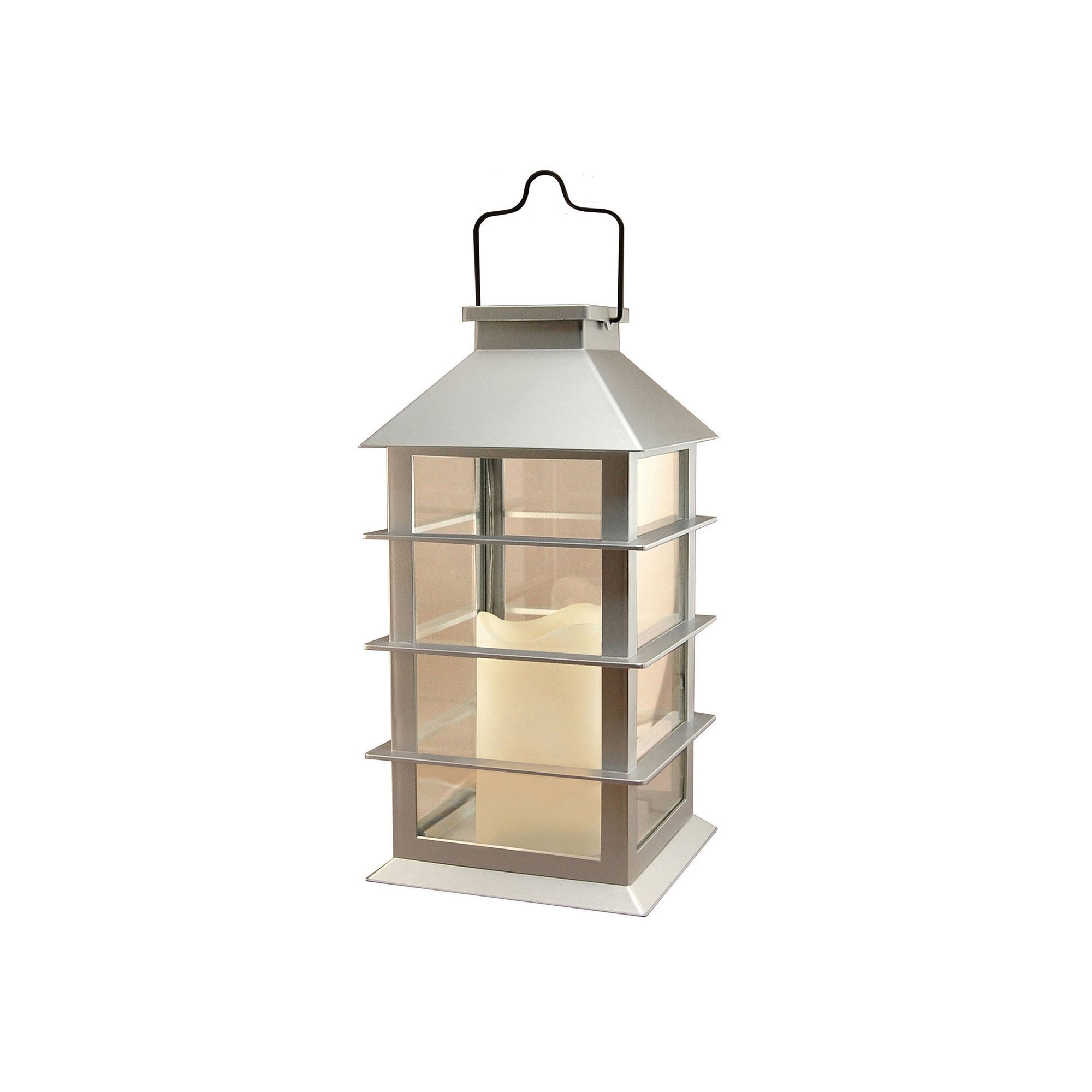 Famous Lumabase Silver Solar Lantern & Led Candle, Clrs (View 4 of 20)