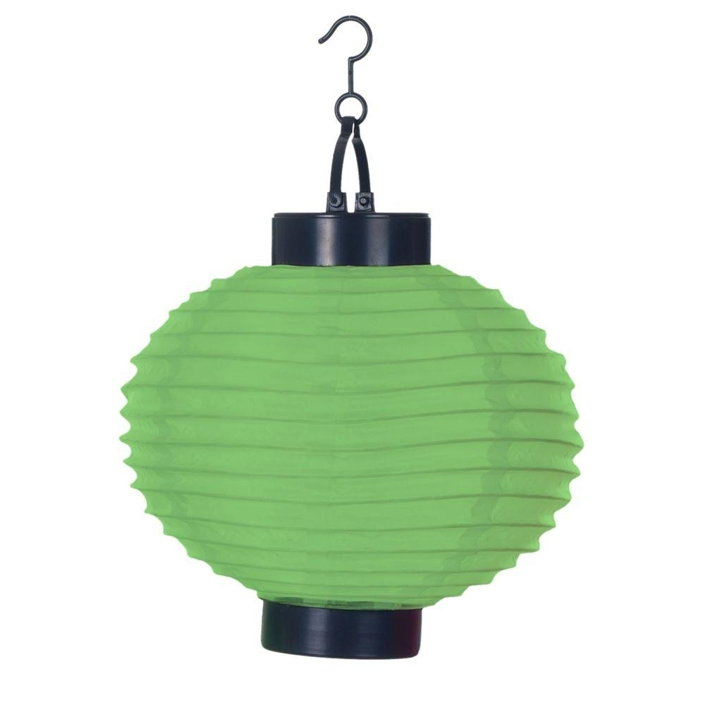 Famous Outdoor Hanging Japanese Lanterns Throughout Pure Garden 4 Light Green Outdoor Led Solar Chinese Lantern 50 19 G (Gallery 10 of 20)