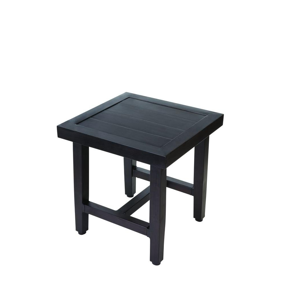 Famous Outdoor Side Tables – Patio Tables – The Home Depot Pertaining To Patio Umbrellas With Accent Table (View 20 of 20)