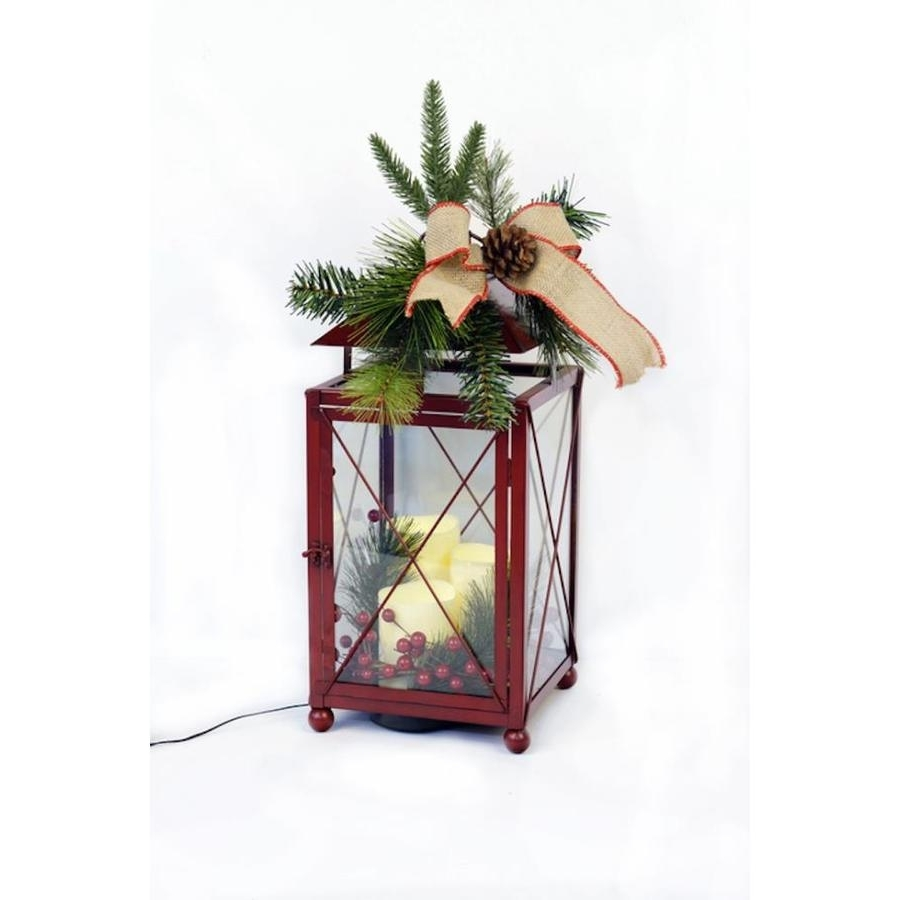 Famous Shop Holiday 8.25 In X 20 In Red Metal Led Light Outdoor Decorative Intended For Red Outdoor Table Lanterns (Gallery 2 of 20)