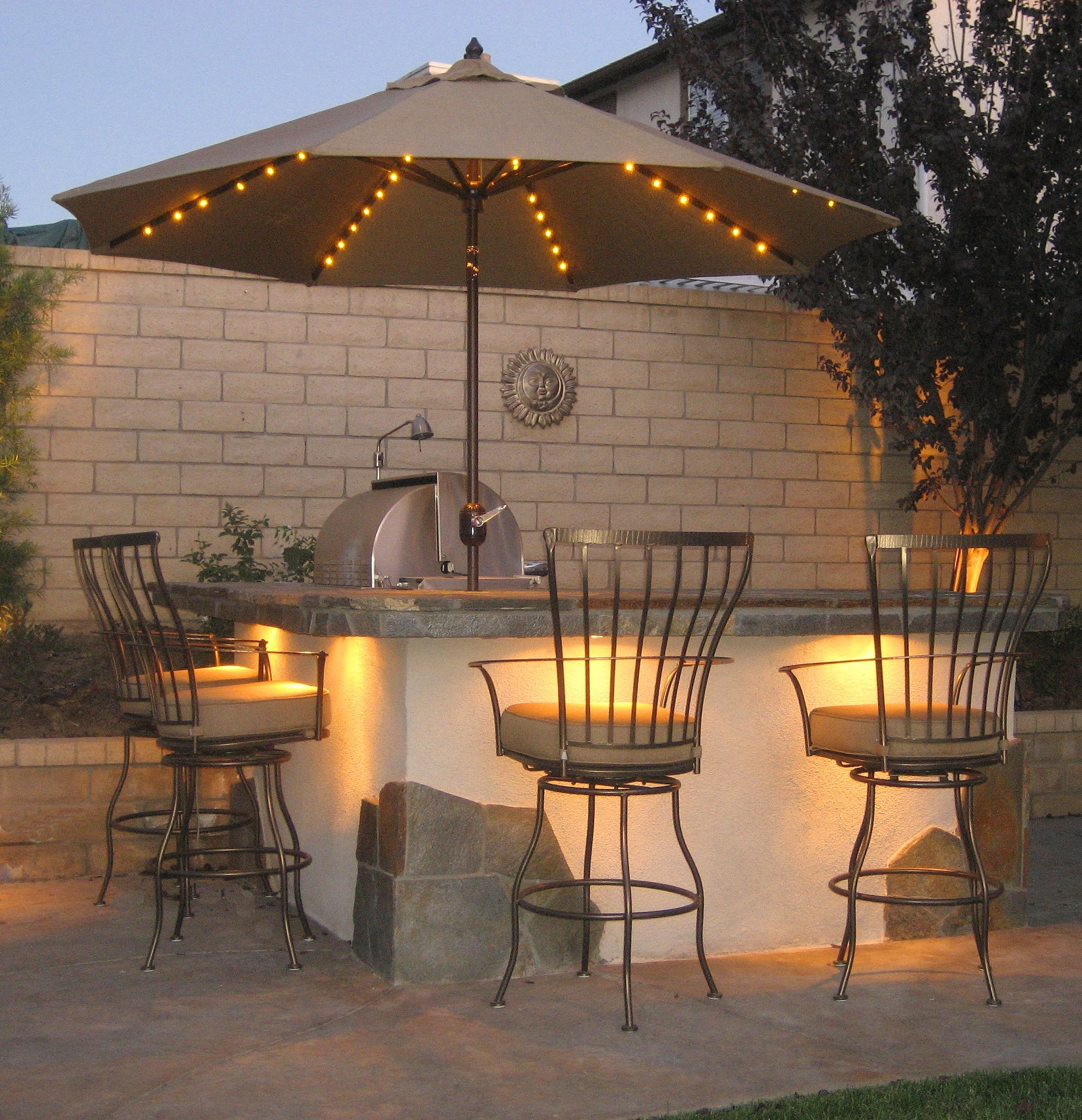 Famous Solar Patio Umbrellas Intended For Lighted Patio Umbrellas — Mistikcamping Home Design : Different (View 4 of 20)