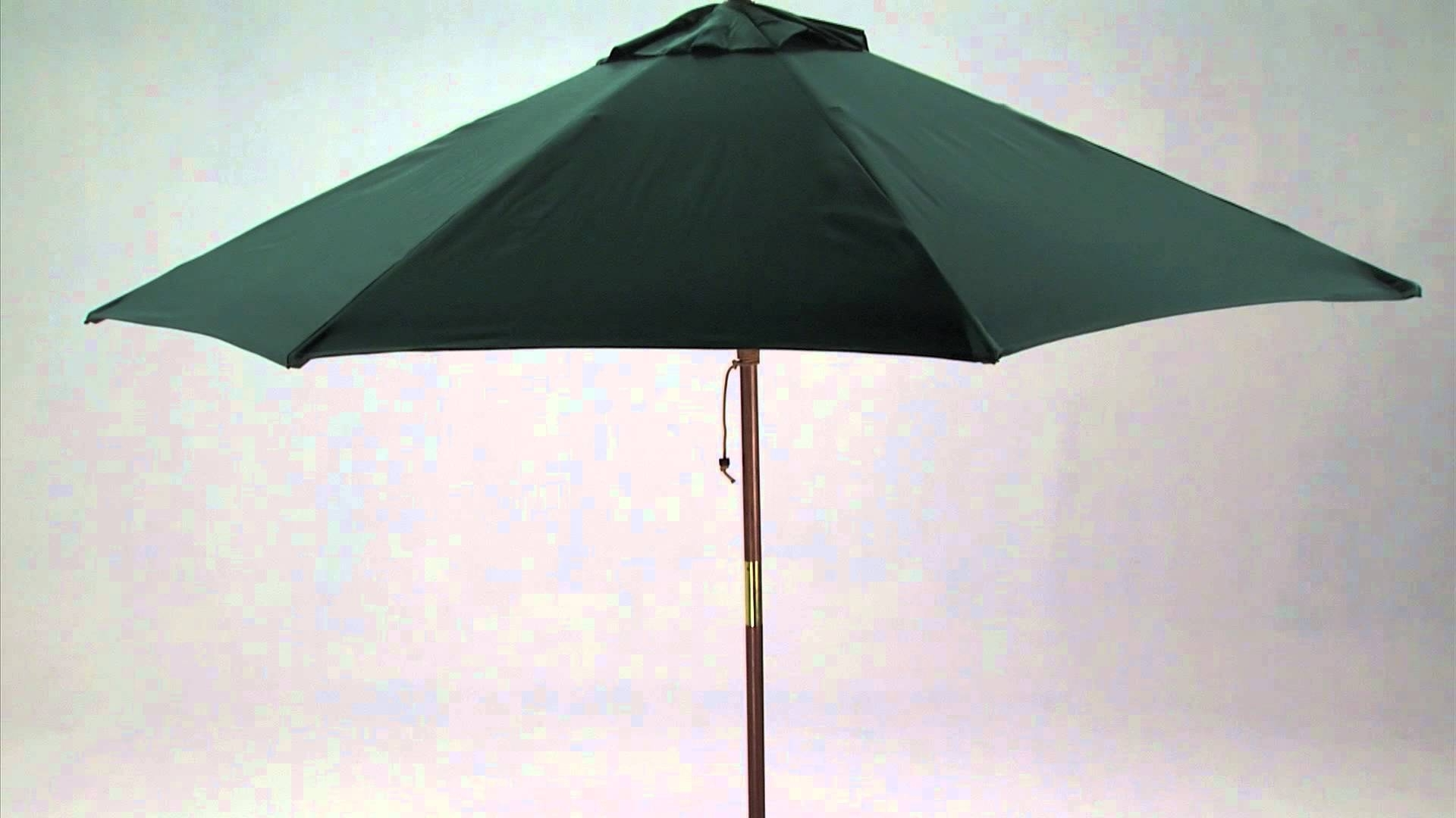 Famous Wooden Patio Umbrellas With 9 Foot Wooden Market Patio Umbrella – Youtube (View 2 of 20)