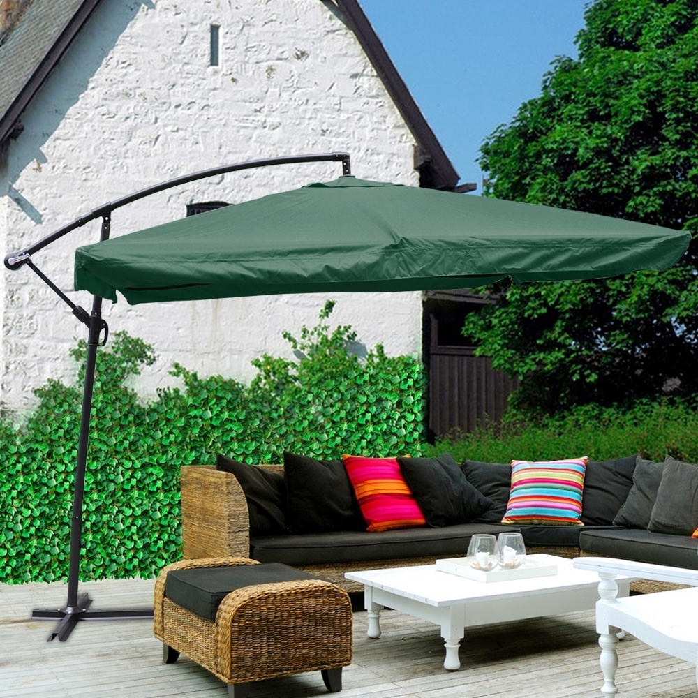 Fashionable 9x9' Deluxe Square Patio Offset Hanging Umbrella Gazebo Outdoor Within Deluxe Patio Umbrellas (View 20 of 20)