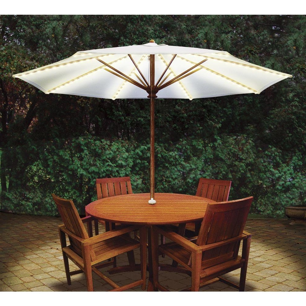 Fashionable Blue Star Group Brella Lights Patio Umbrella Lighting System With Regarding Patio Umbrellas At Home Depot (View 2 of 20)