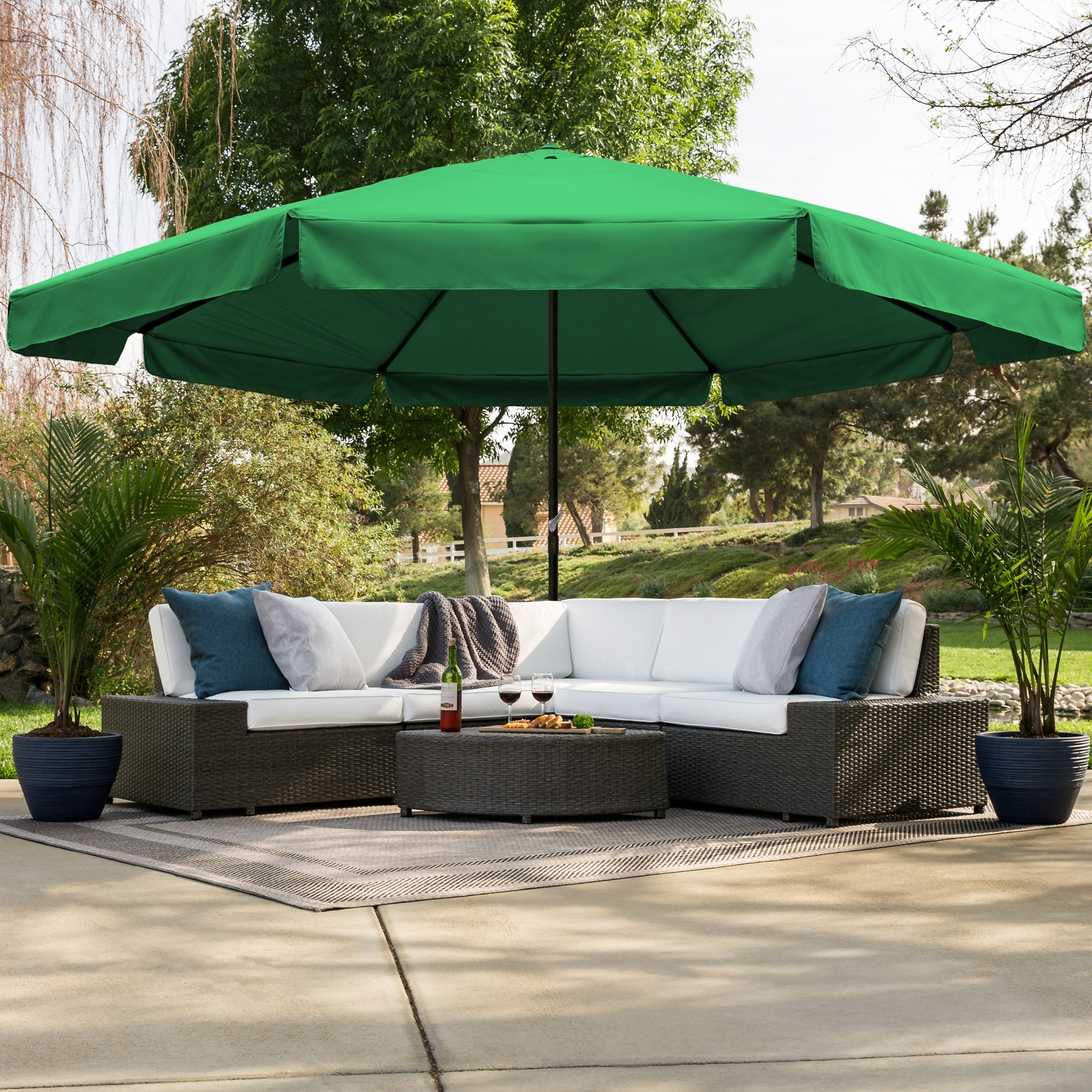 Fashionable Drape Patio Umbrellas In Bestchoiceproducts: Best Choice Products 16Ft Outdoor Patio Drape (View 10 of 20)
