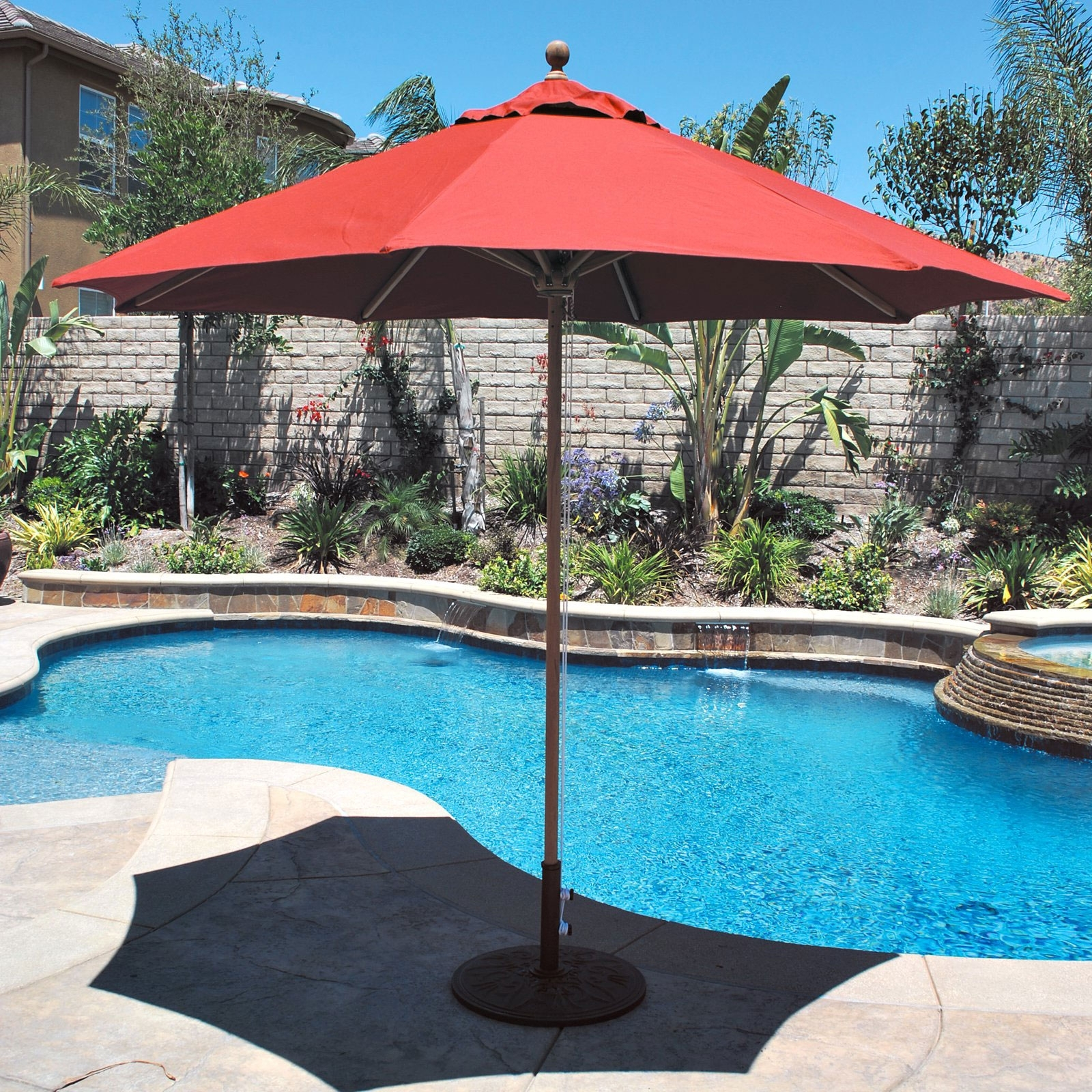 Fashionable Famed Sunbrella Commercial Grade Aluminum Wind Resistant Patio Inside Free Standing Patio Umbrellas (View 10 of 20)