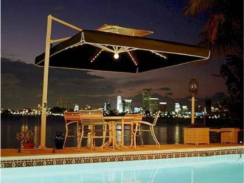 Fashionable Lighted Umbrellas For Patio Inside Trademark With Lighted Patio Umbrella — Cdbossington Interior Design (View 13 of 20)