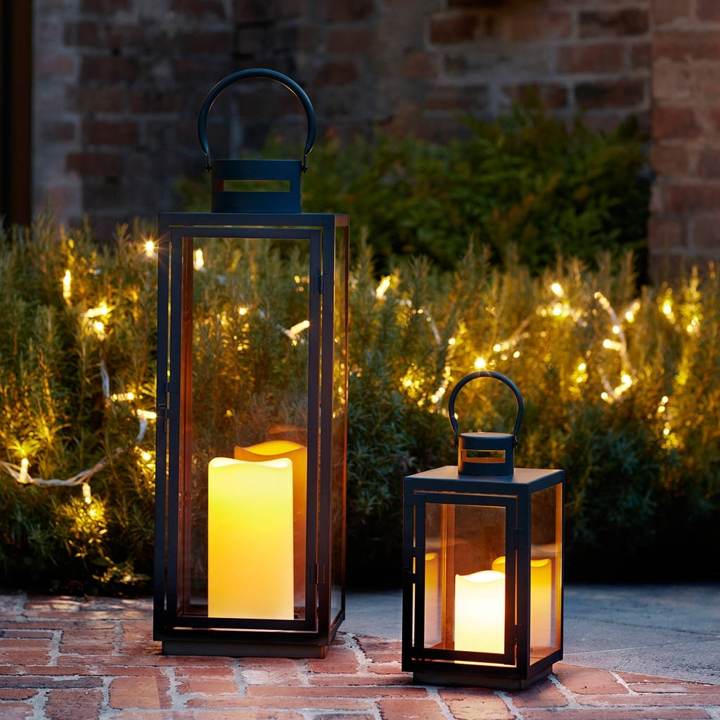 Fashionable Malvern Outdoor Battery Candle Lantern Setlights4Fun Within Outdoor Lanterns With Timers (View 4 of 20)