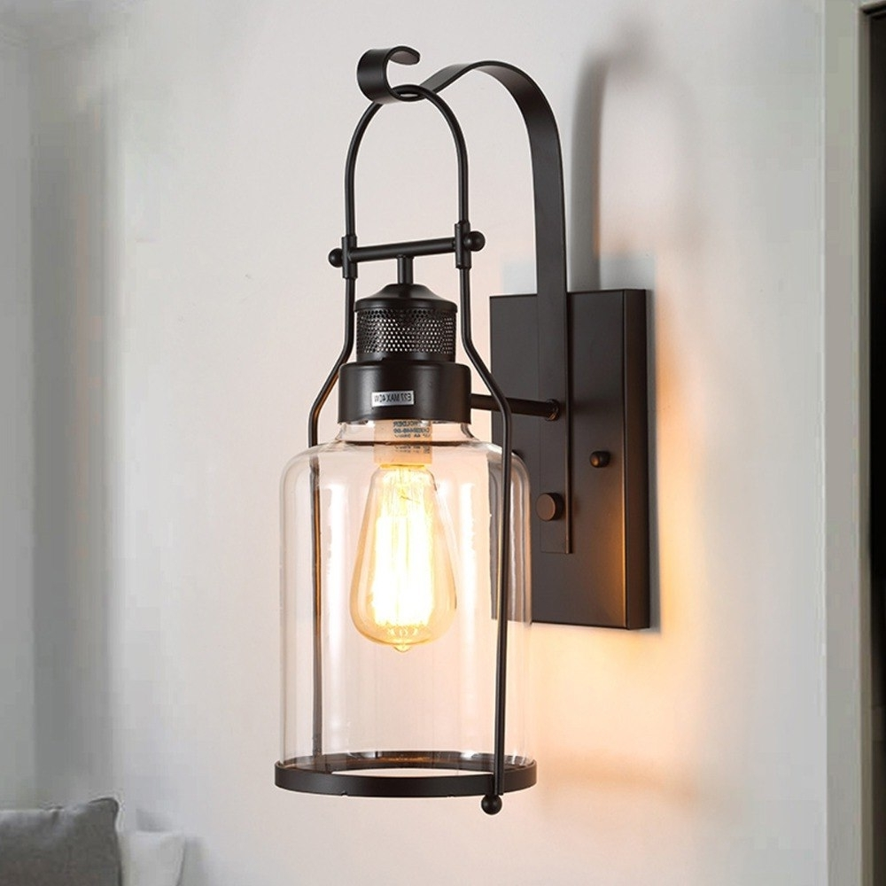 Fashionable Modern Wall Lamp Glass Cover Light Diy Lighting Cafe Art Home Regarding Outdoor Vintage Lanterns (View 18 of 20)