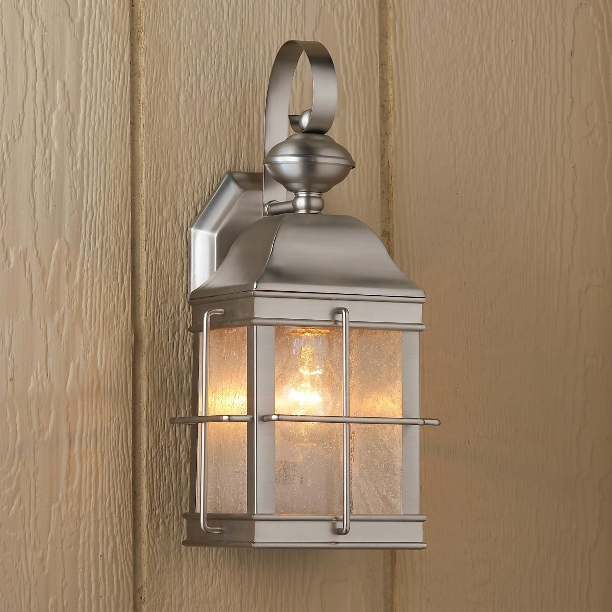 Fashionable Nickel Outdoor Lanterns Throughout Brushed Nickel Outdoor Lights Elegant Nautical Inspired Lantern Wall (Gallery 8 of 20)
