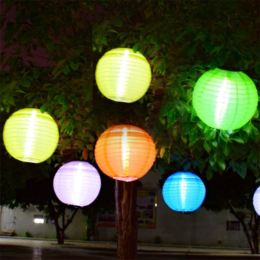 Fashionable Outdoor Nylon Lanterns Within Thrisdar 5Pcs D30Cm Big Lantern Ball Outdoor Solar Hanging Lamps (Gallery 14 of 20)