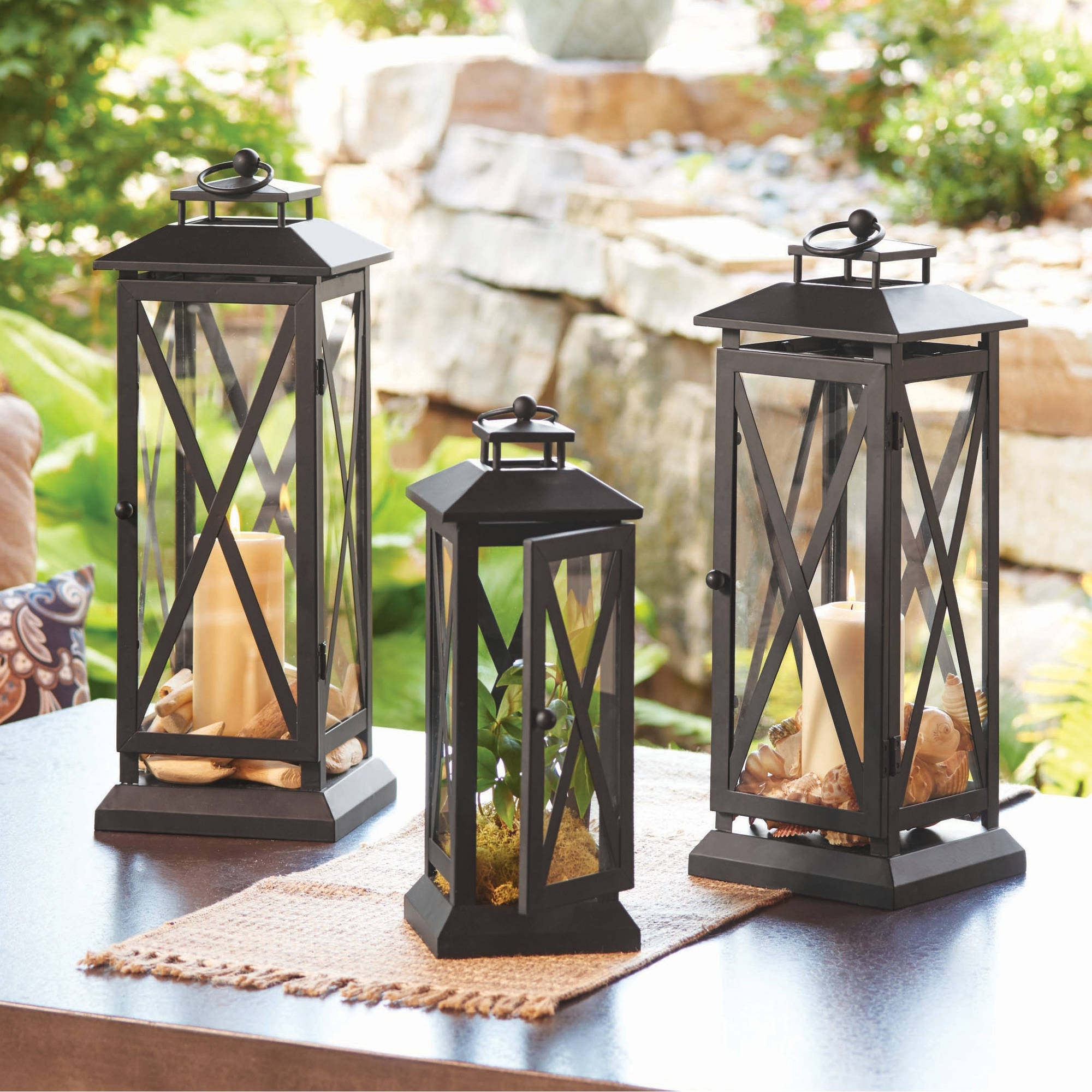 Fashionable Outdoor Vinyl Lanterns Within Better Homes And Gardens Crossbar Metal Outdoor Lantern – Walmart (View 7 of 20)