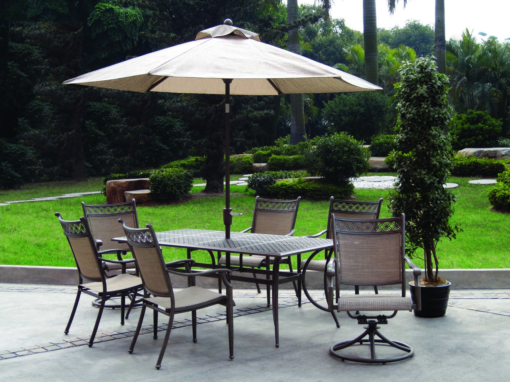 Fashionable Patio Table And Chairs With Umbrellas Within Home Depot Outdoor Furniture Umbrellas With 2 Swivel Chair Pine (View 2 of 20)
