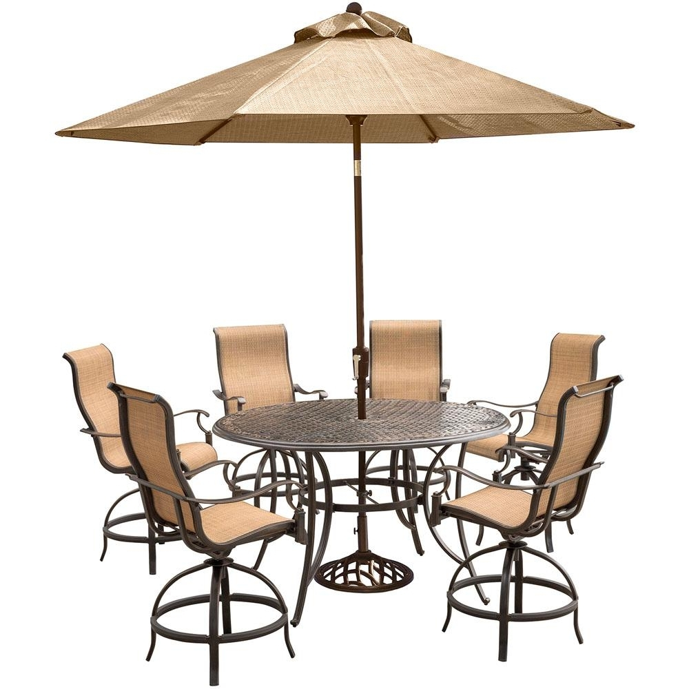 Fashionable Patio Umbrellas For Bar Height Tables For Hanover Manor 7 Piece Aluminum Round Outdoor High Dining Set With (View 1 of 20)