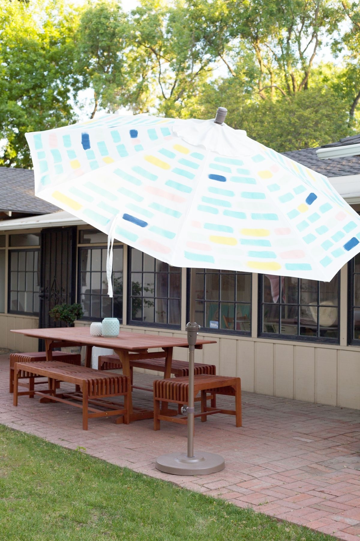 Fashionable Patterned Patio Umbrellas Inside Diy Painted Pattern Patio Umbrella (View 4 of 20)