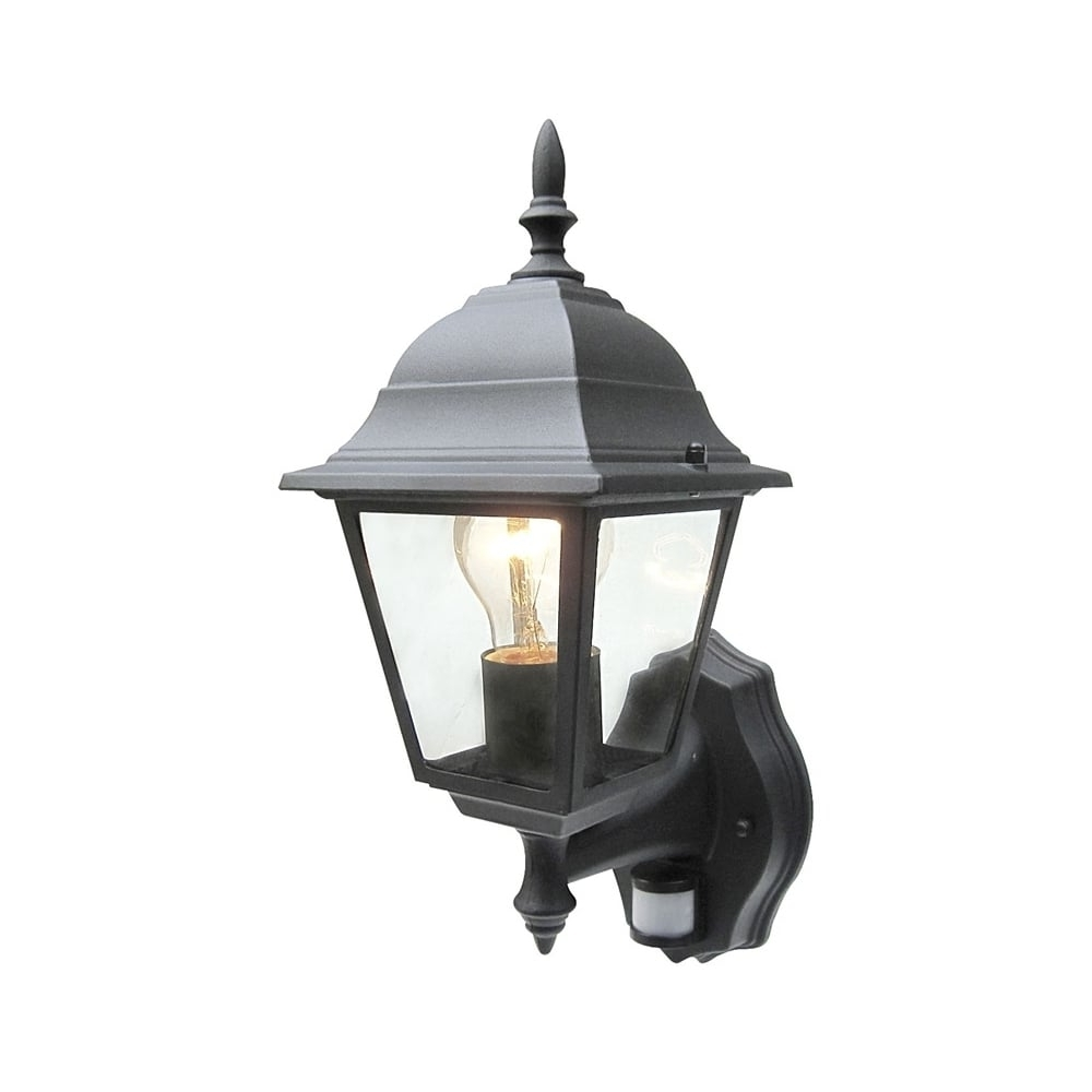 Fashionable Power Master Black/white Outdoor Traditional Pir Sensor Wall Lantern Throughout Outdoor Mains Lanterns (Gallery 3 of 20)