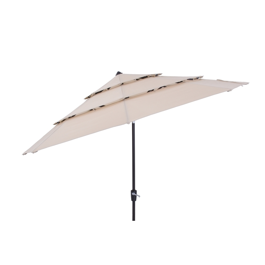 Fashionable Shop Simply Shade Solid Wheat Market 11 Ft Patio Umbrella At Lowes Regarding 11 Foot Patio Umbrellas (Gallery 18 of 20)