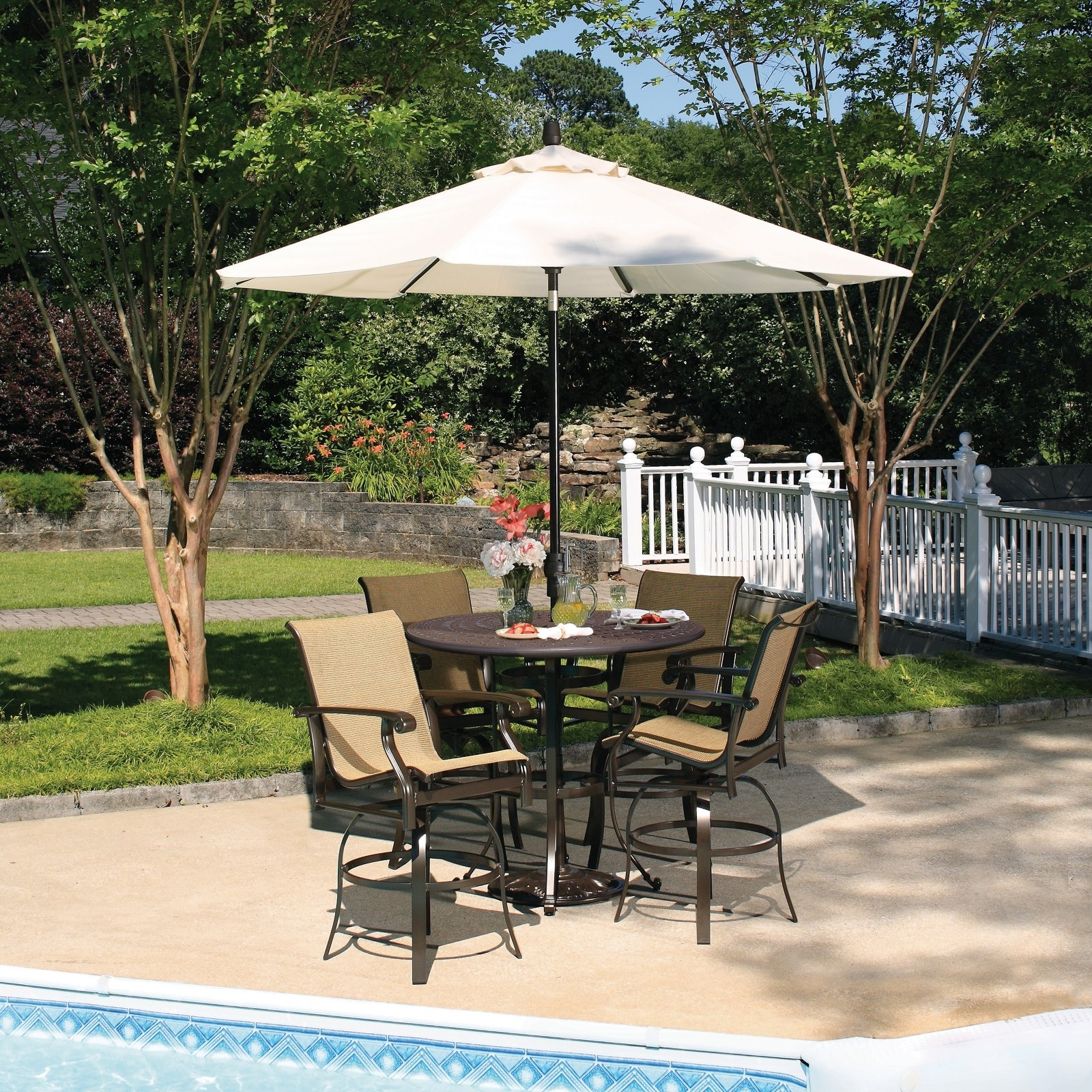 Fashionable Small Patio Tables With Umbrellas With Furniture: Nice Small Patio Table With Umbrella Hole For Stunning (Gallery 16 of 20)