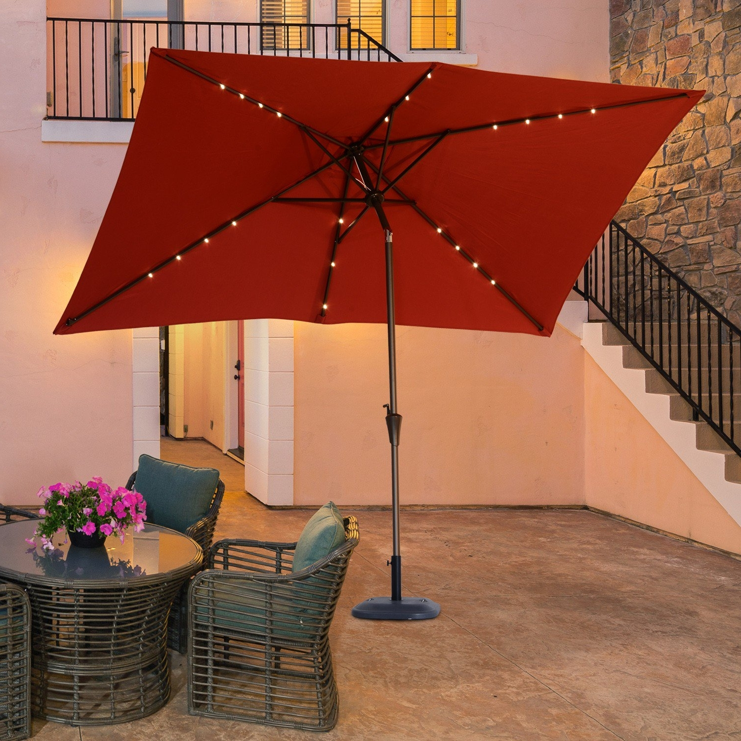 Fashionable Solar Powered Patio Umbrellas Inside Outsunny 6.5X10Ft Rectangle Solar Powered Tilt Patio Umbrella (Gallery 14 of 20)
