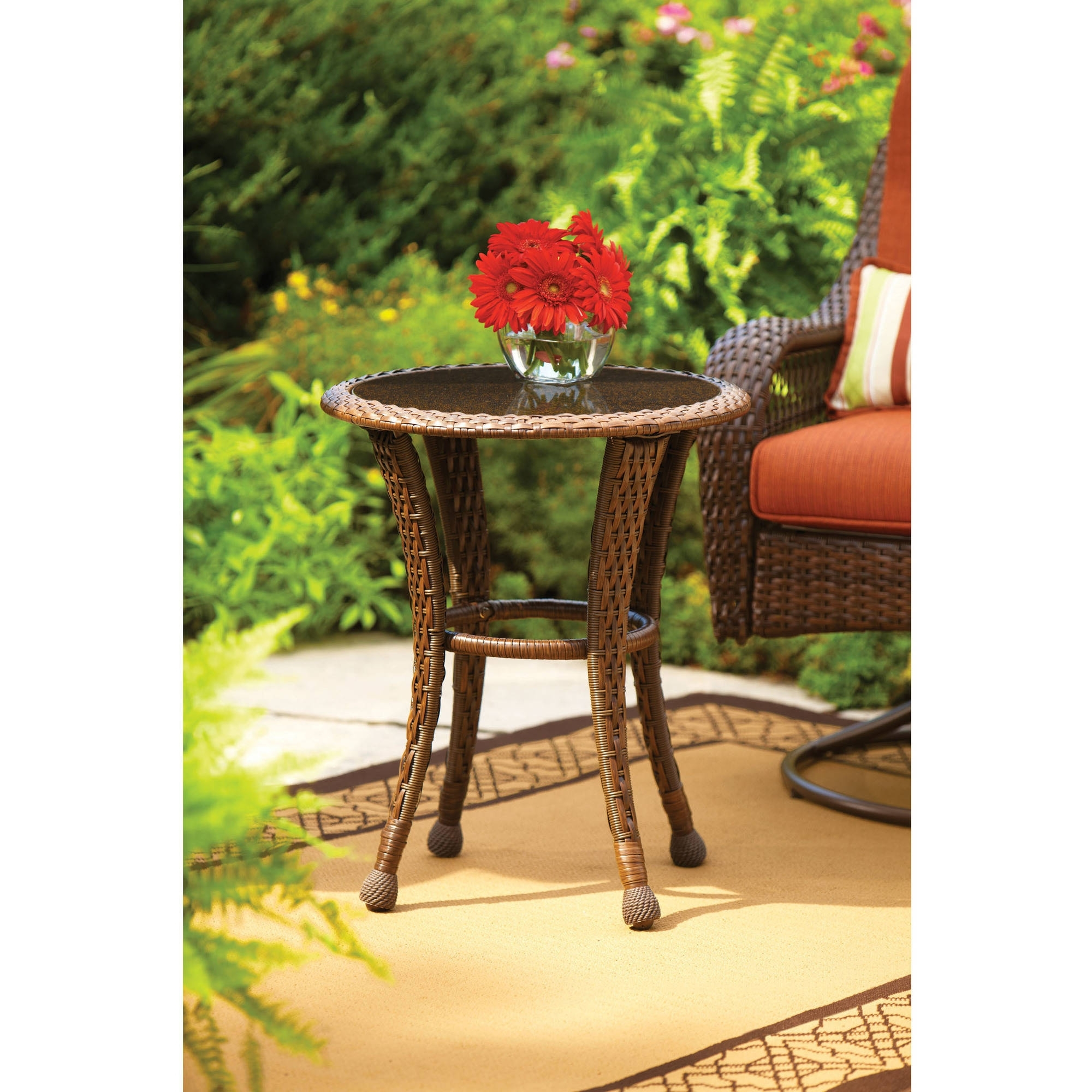 "Favorite Better Homes And Gardens Azalea Ridge 20"" Round Outdoor Side Table With Regard To Patio Umbrellas With Accent Table (View 17 of 20)"