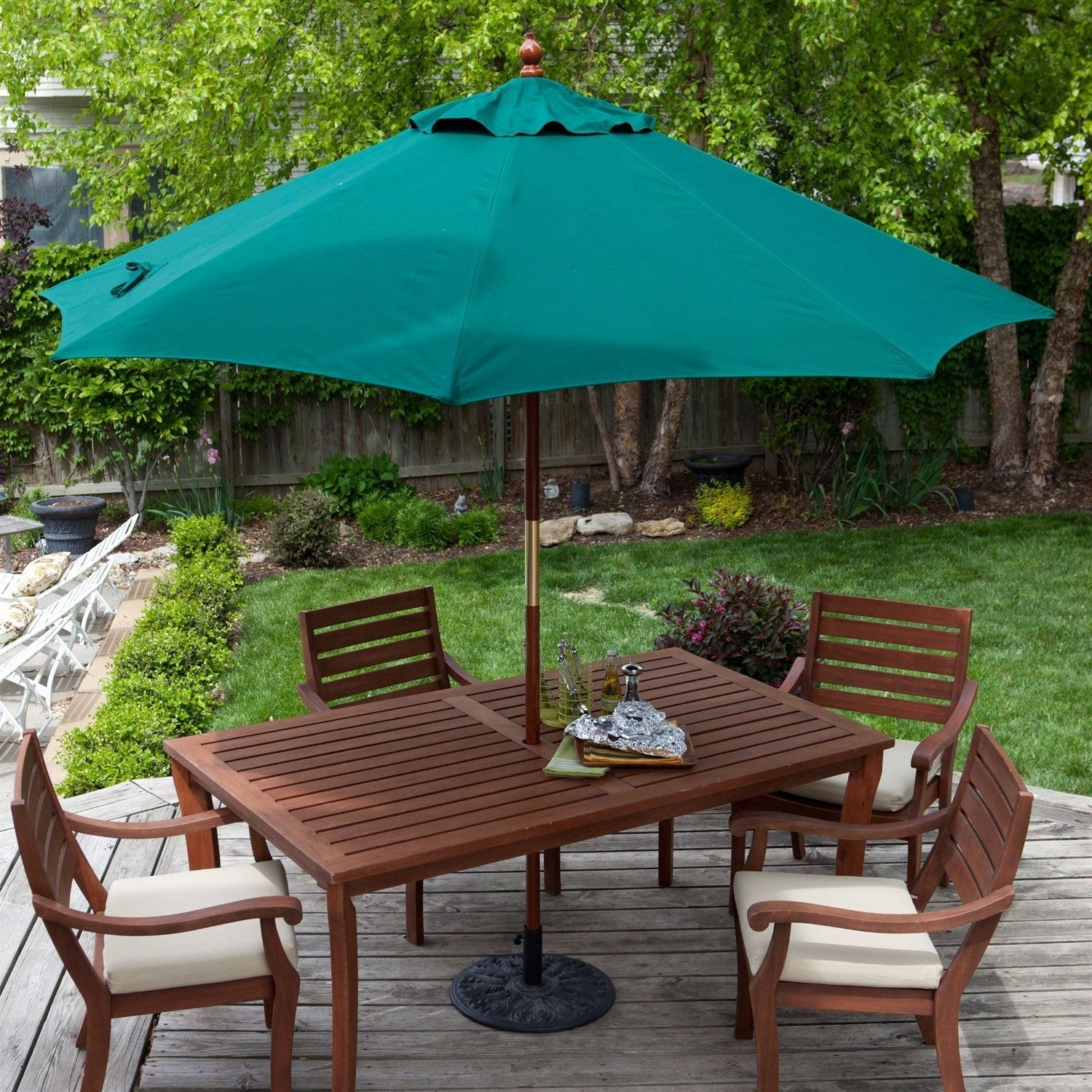 Favorite Commercial Patio Umbrellas With Regard To Commercial Grade 9 Ft Patio Umbrella With Forest Green Sunbrella (View 12 of 20)