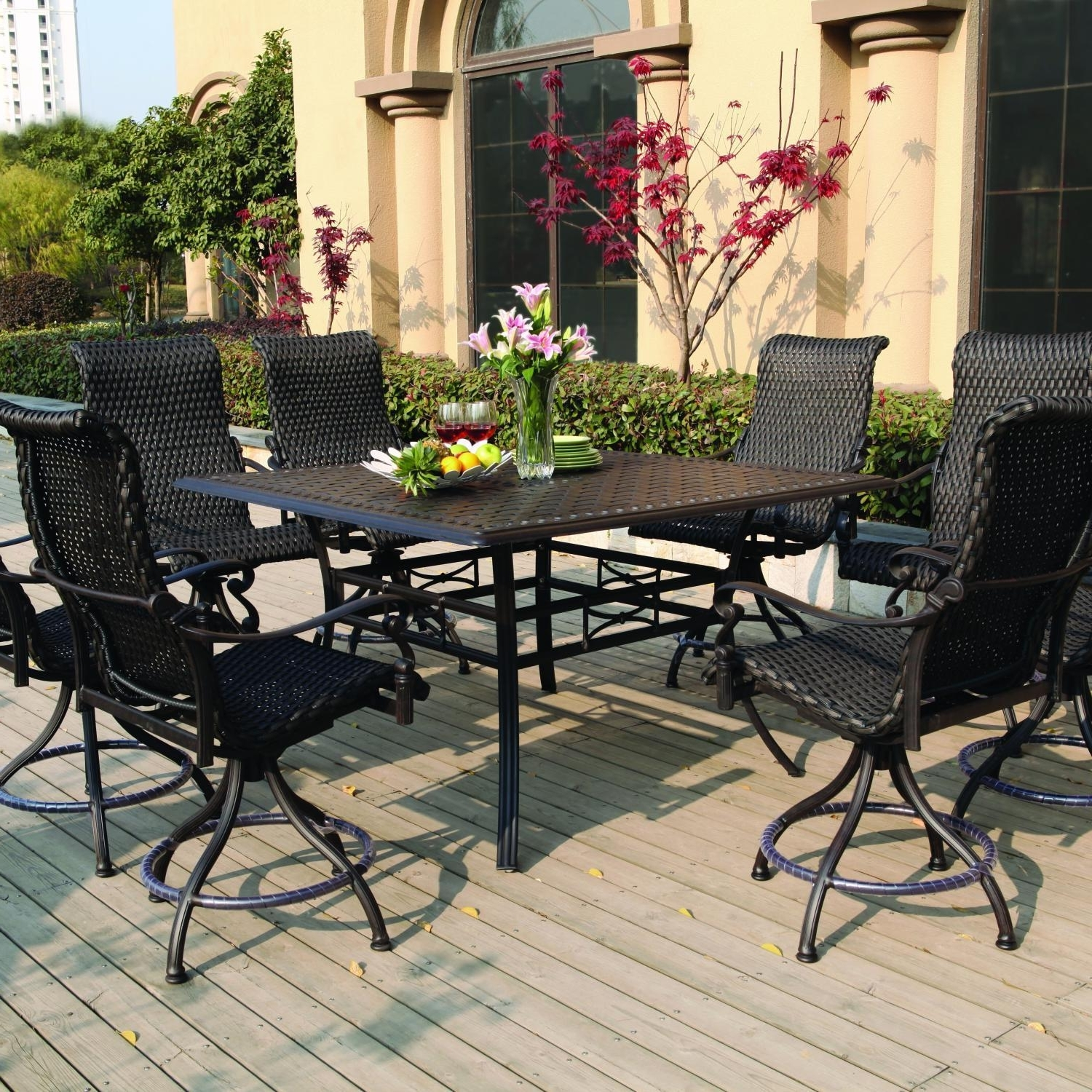 Favorite Darlee Victoria 9 Piece Resin Wicker Counter Height Patio Dining Set For Patio Umbrellas For Bar Height Tables (View 2 of 20)