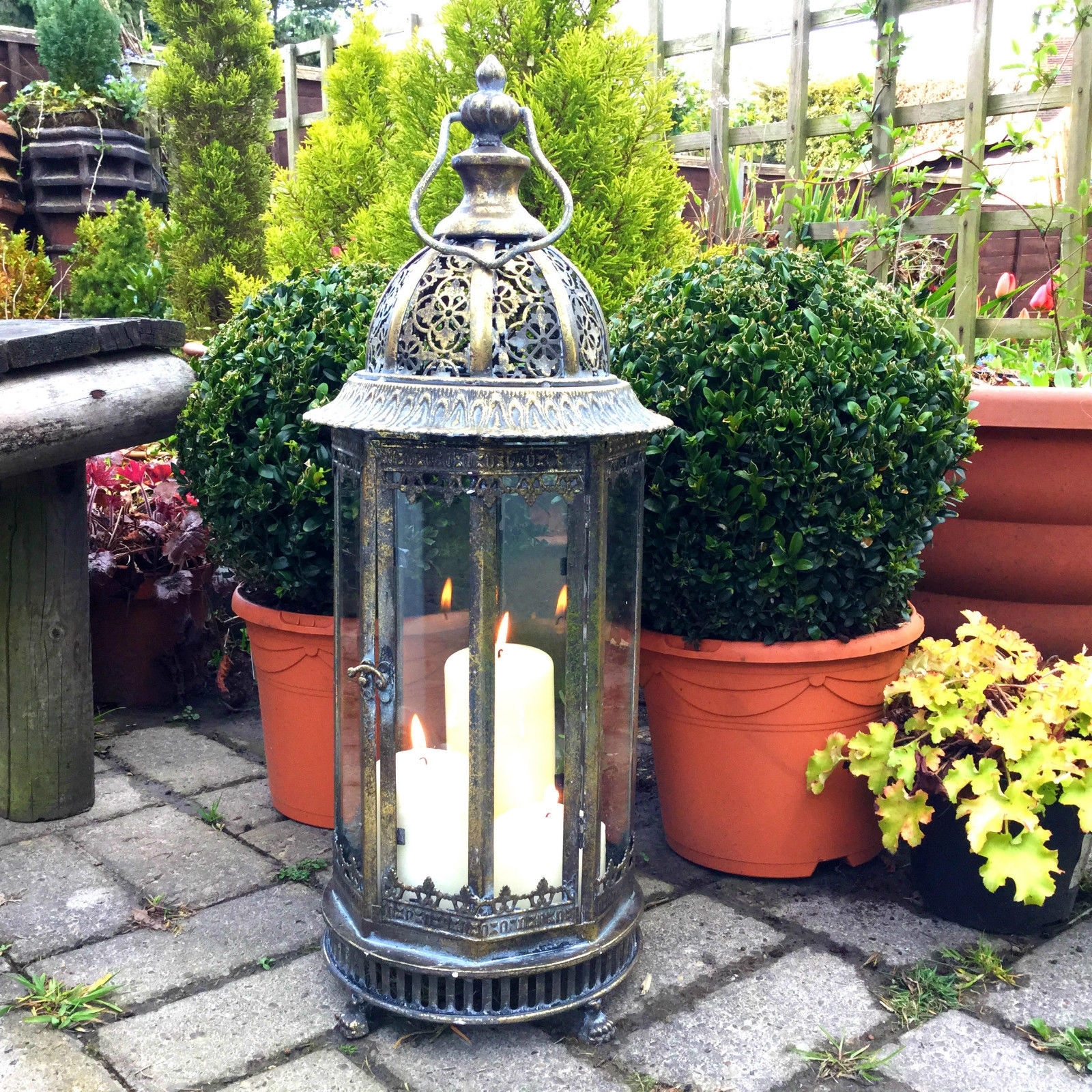 Favorite Extra Large Metal Garden Lantern Candle Holder Antique French For Moroccan Outdoor Lanterns (Gallery 2 of 20)